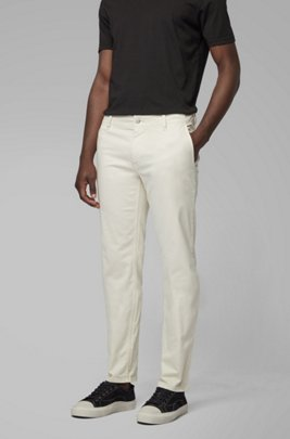 Regular-fit casual chinos in brushed stretch cotton, Light Beige