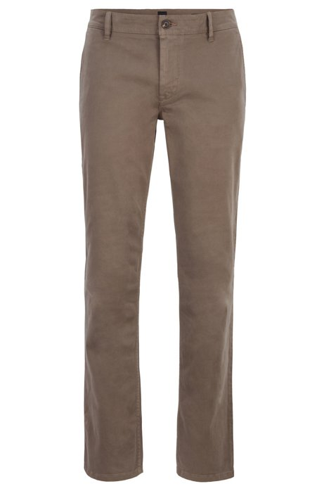 Regular-fit casual chinos in brushed stretch cotton, Open Beige