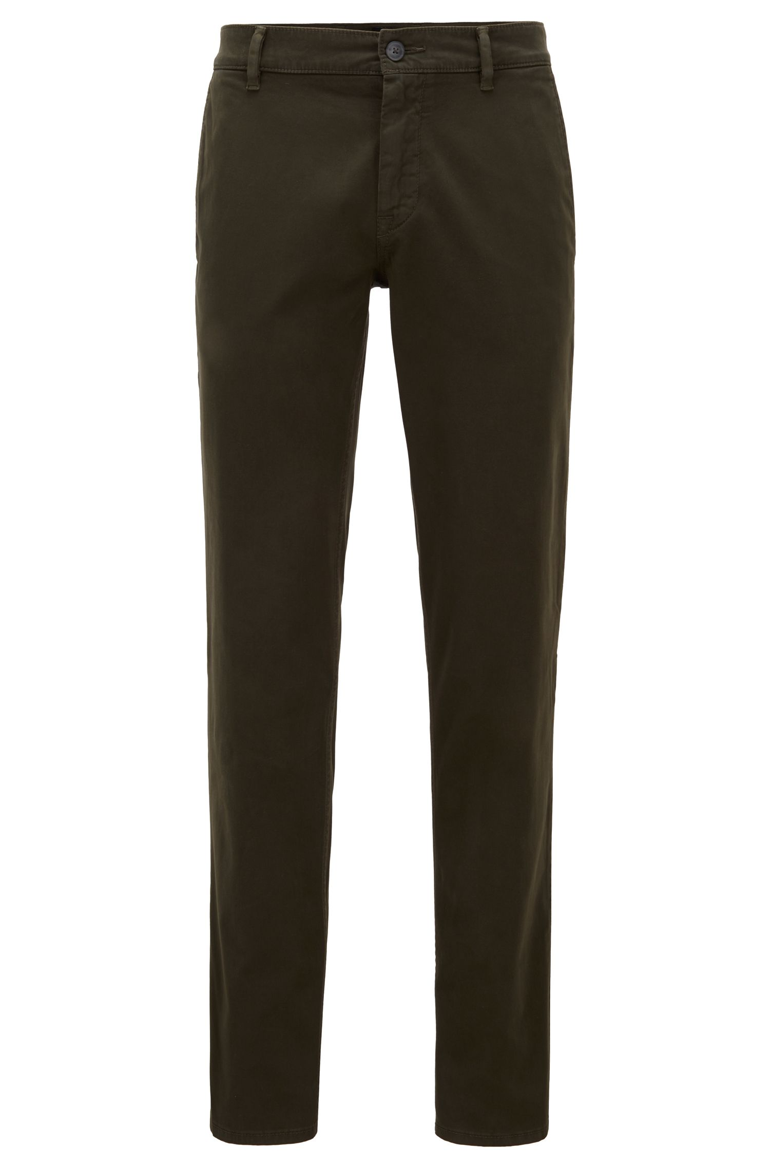 Regular-fit casual chinos in brushed stretch cotton, Open Green
