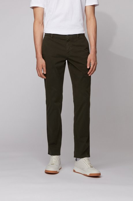 Regular-fit casual chinos in brushed stretch cotton, Light Green