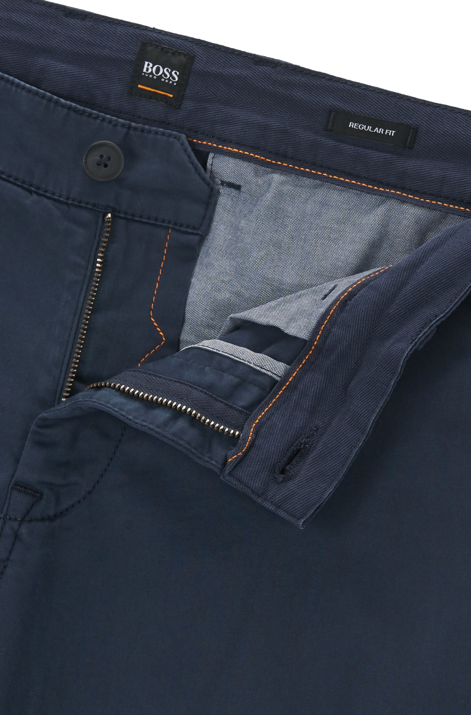 Regular-fit casual chinos in brushed stretch cotton, Dark Blue