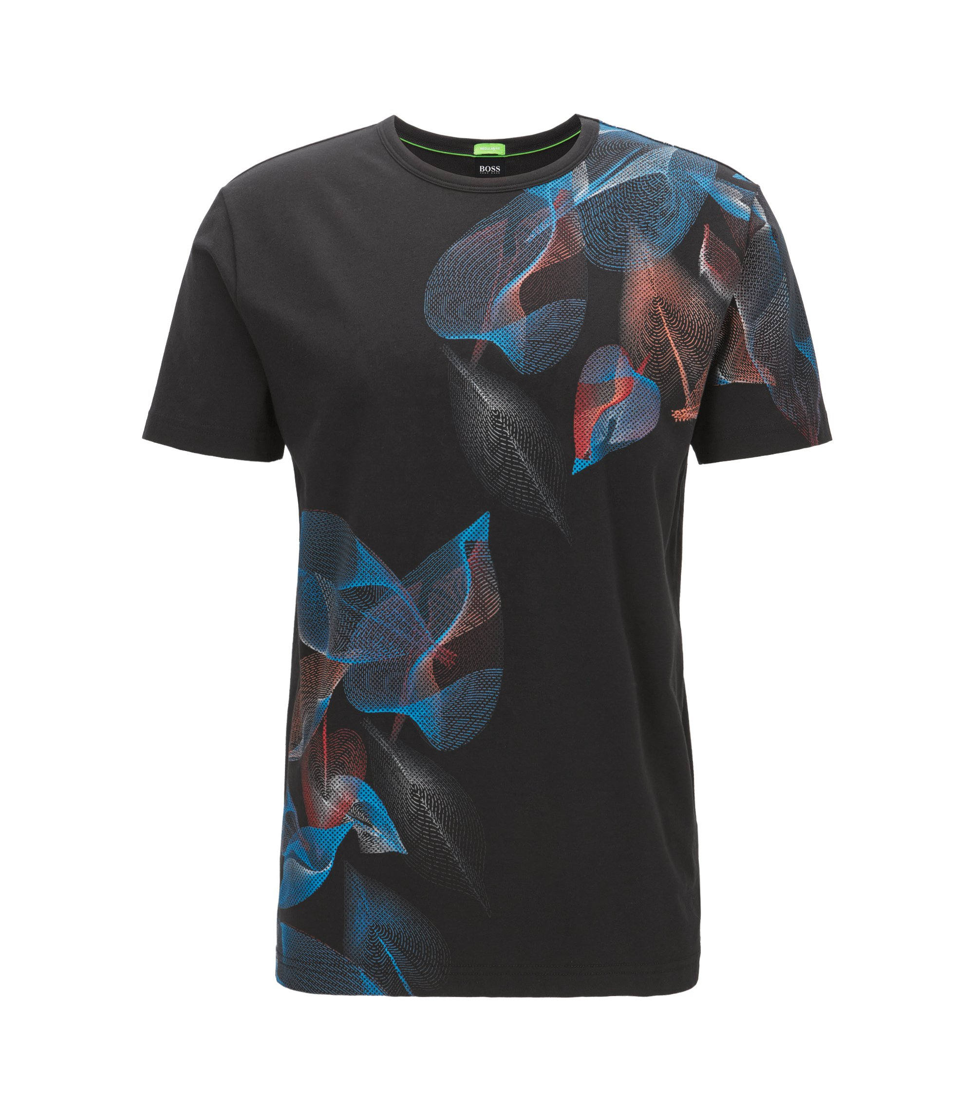 Floral-Print Stretch Cotton Graphic T-Shirt, Regular Fit   Tee, Black