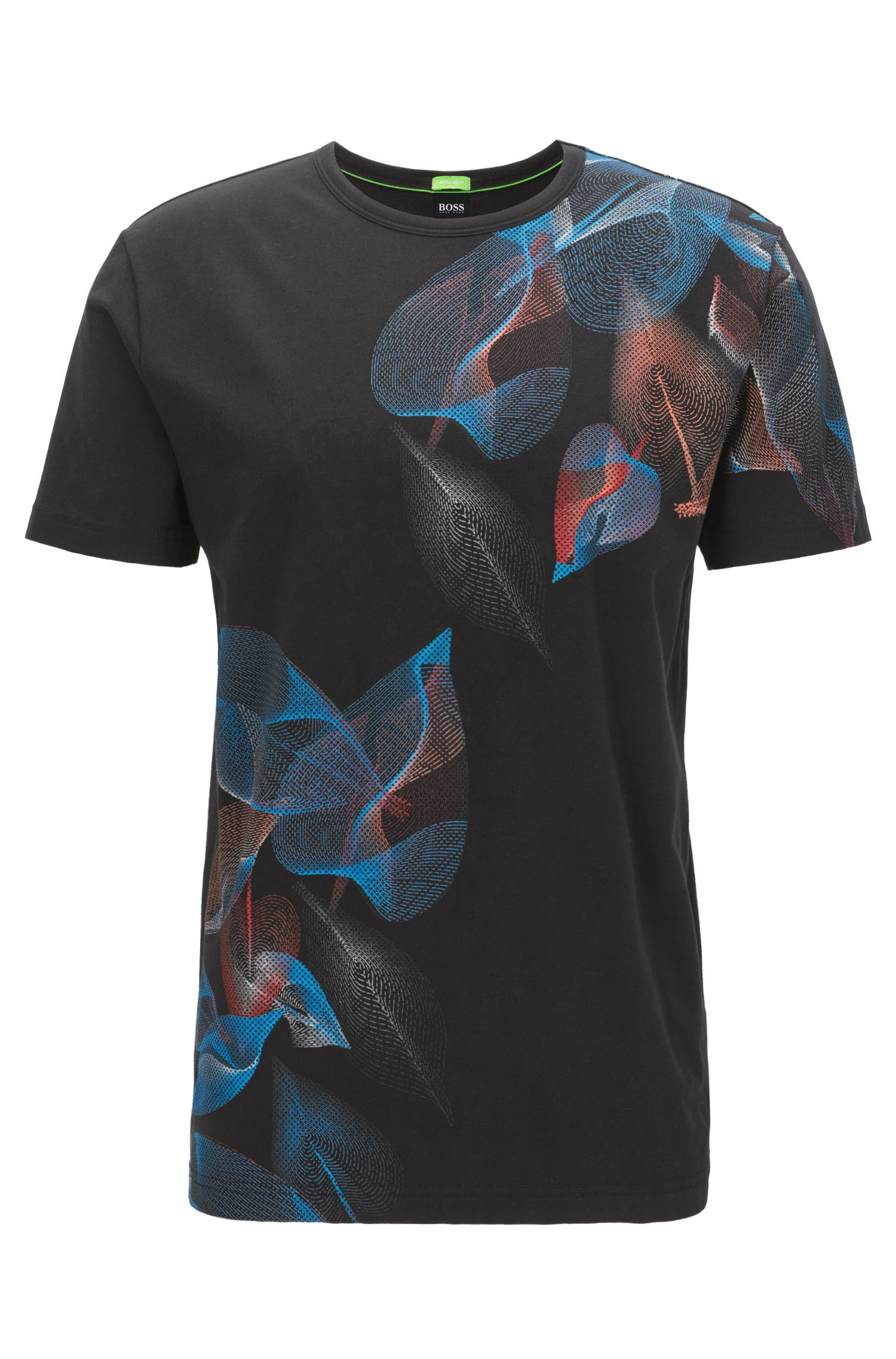 Floral-Print Stretch Cotton Graphic T-Shirt, Regular Fit | Tee