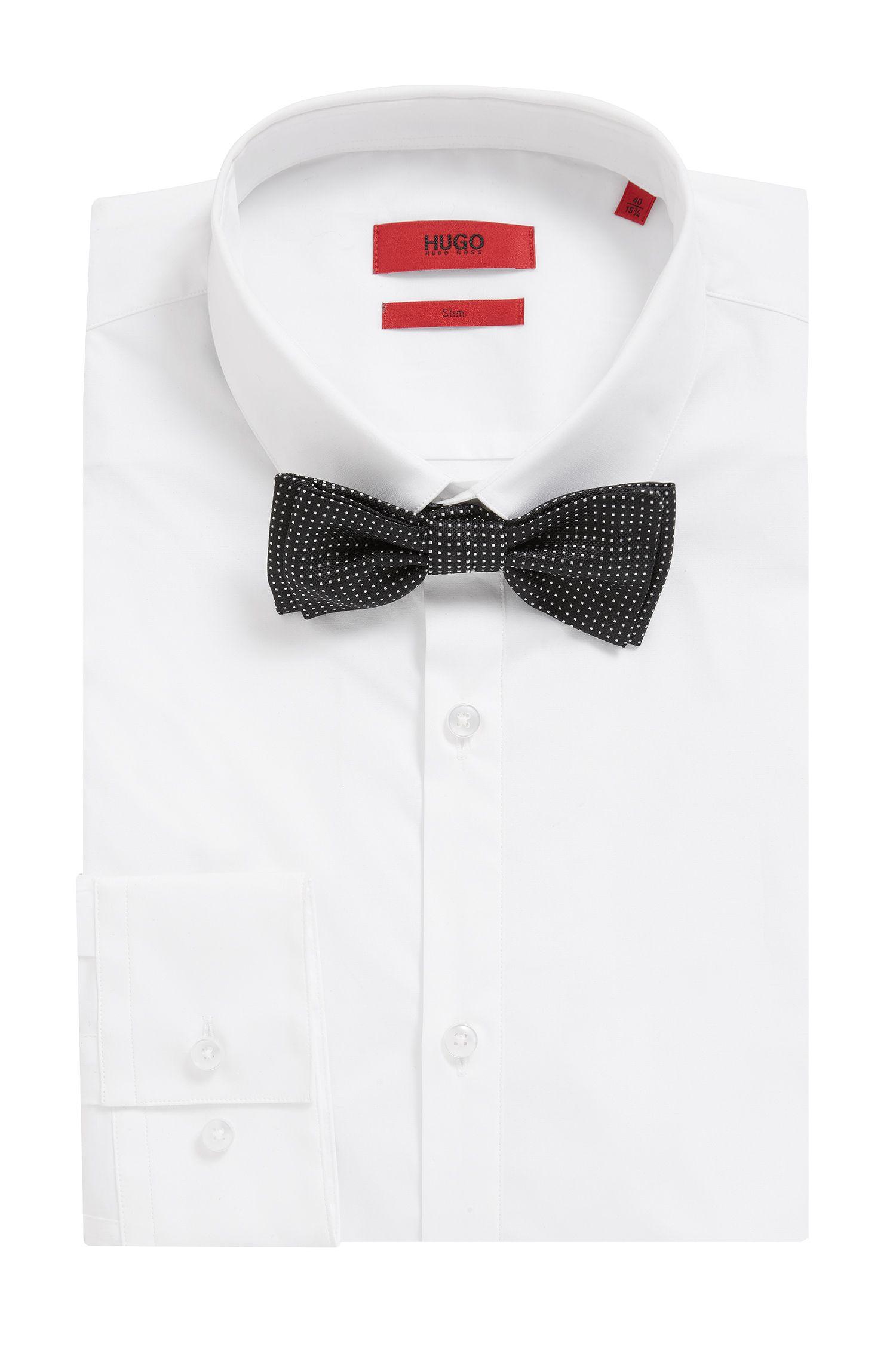 Square Dot Italian Silk Jacquard Bow Tie, Black