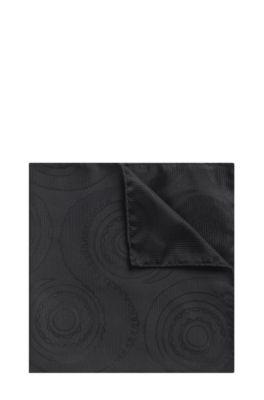 Swirled Italian Silk Pocket Square, Black
