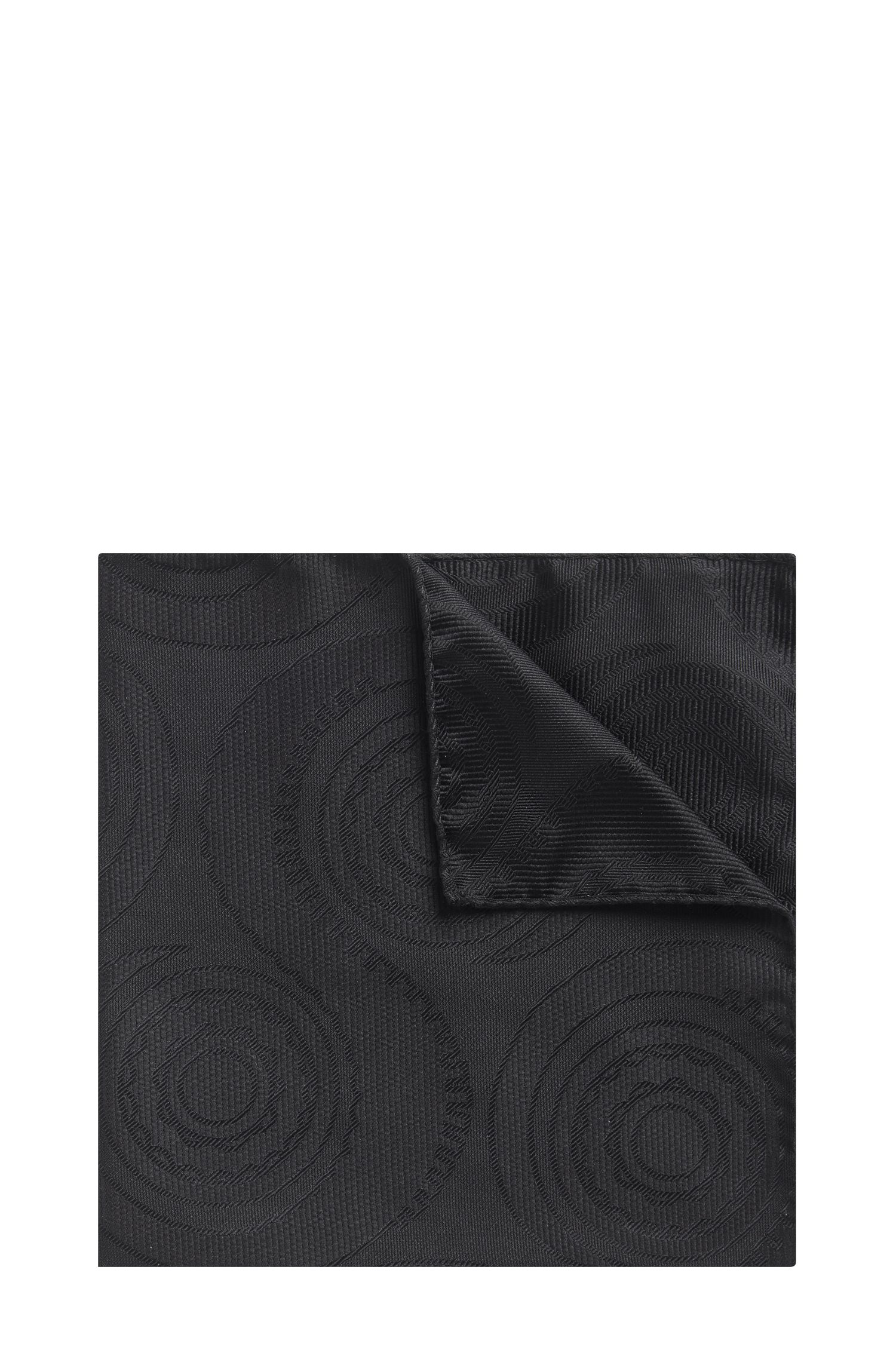 Swirled Italian Silk Pocket Square, Black