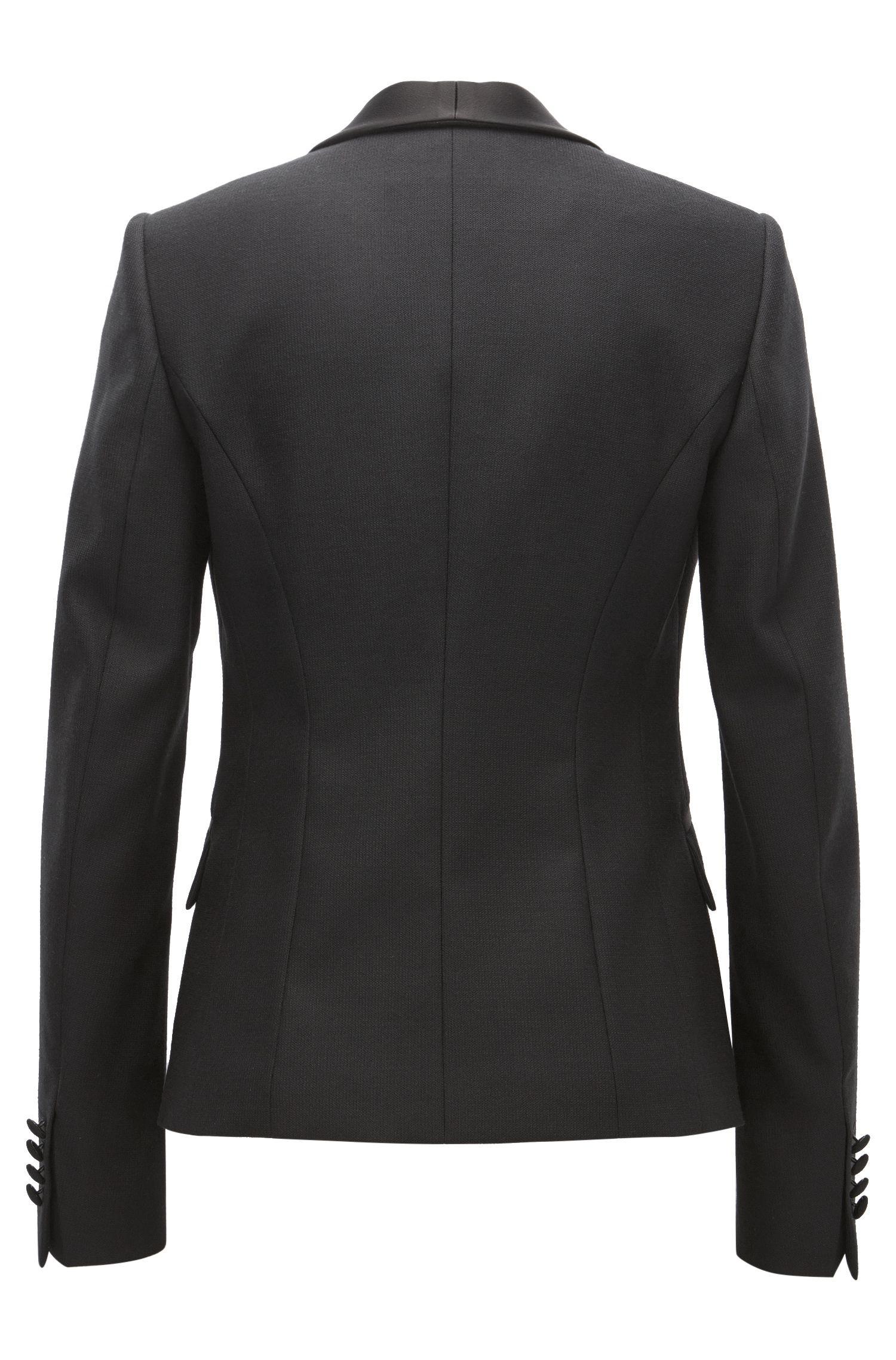 Virgin Wool Tuxedo Jacket | Jivuna, Black