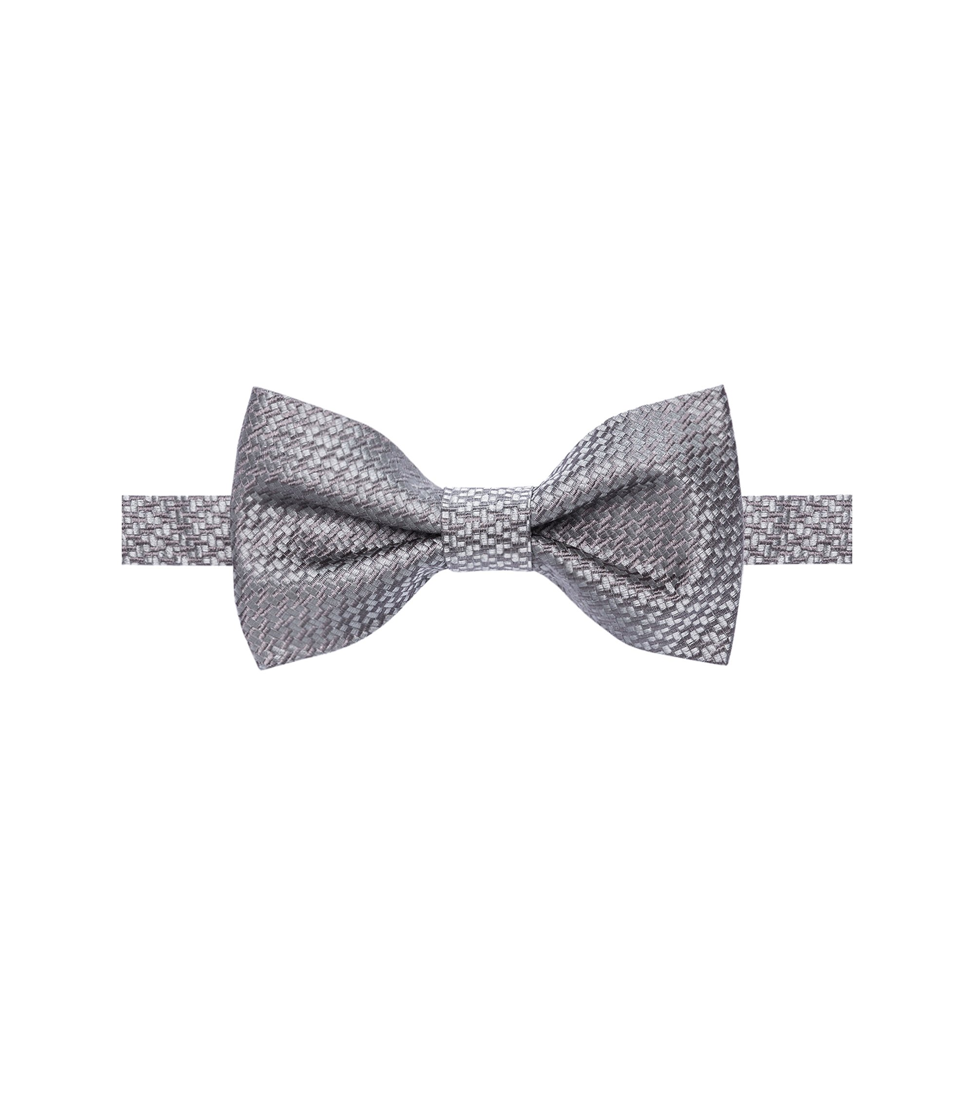 Basketweave Italian Silk Bow Tie, Grey