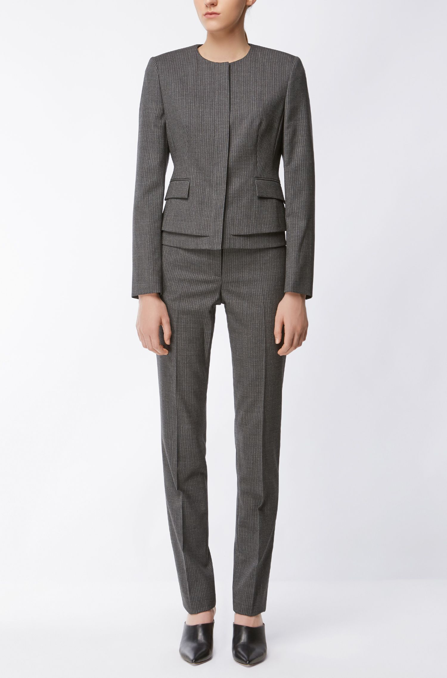 Pinstriped Stretch Virgin Wool Blazer | Jasyma, Patterned