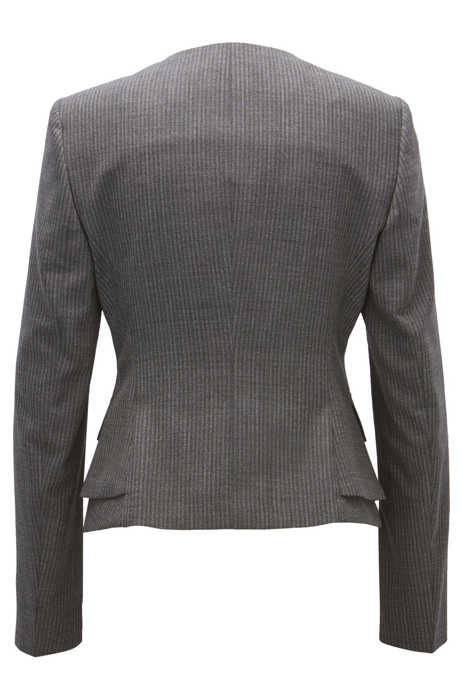 Pinstriped Stretch Virgin Wool Blazer | Jasyma