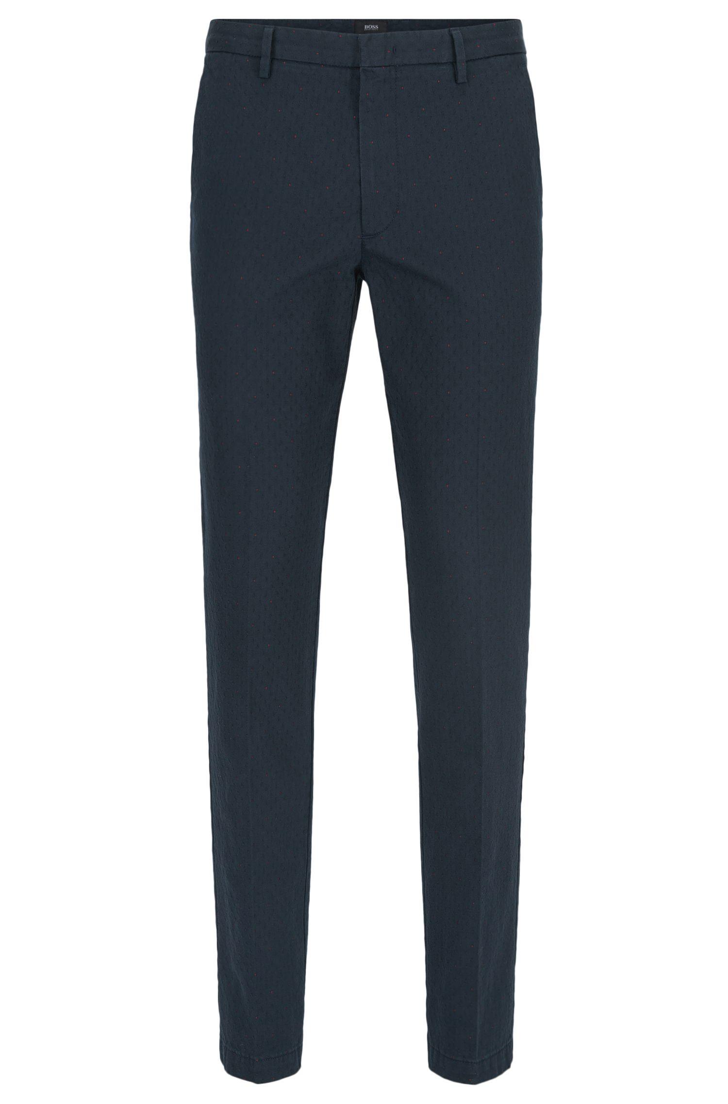 Dot Jacquard Stretch Cotton Pant, Slim Fit | Kaito W