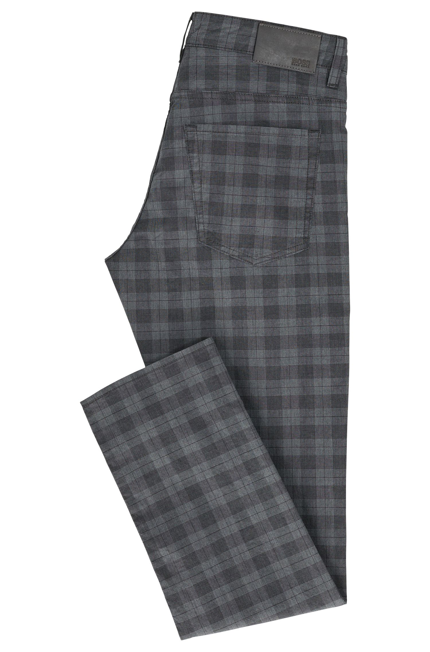 Plaid Stretch Cotton Pant, Slim Fit | Delaware