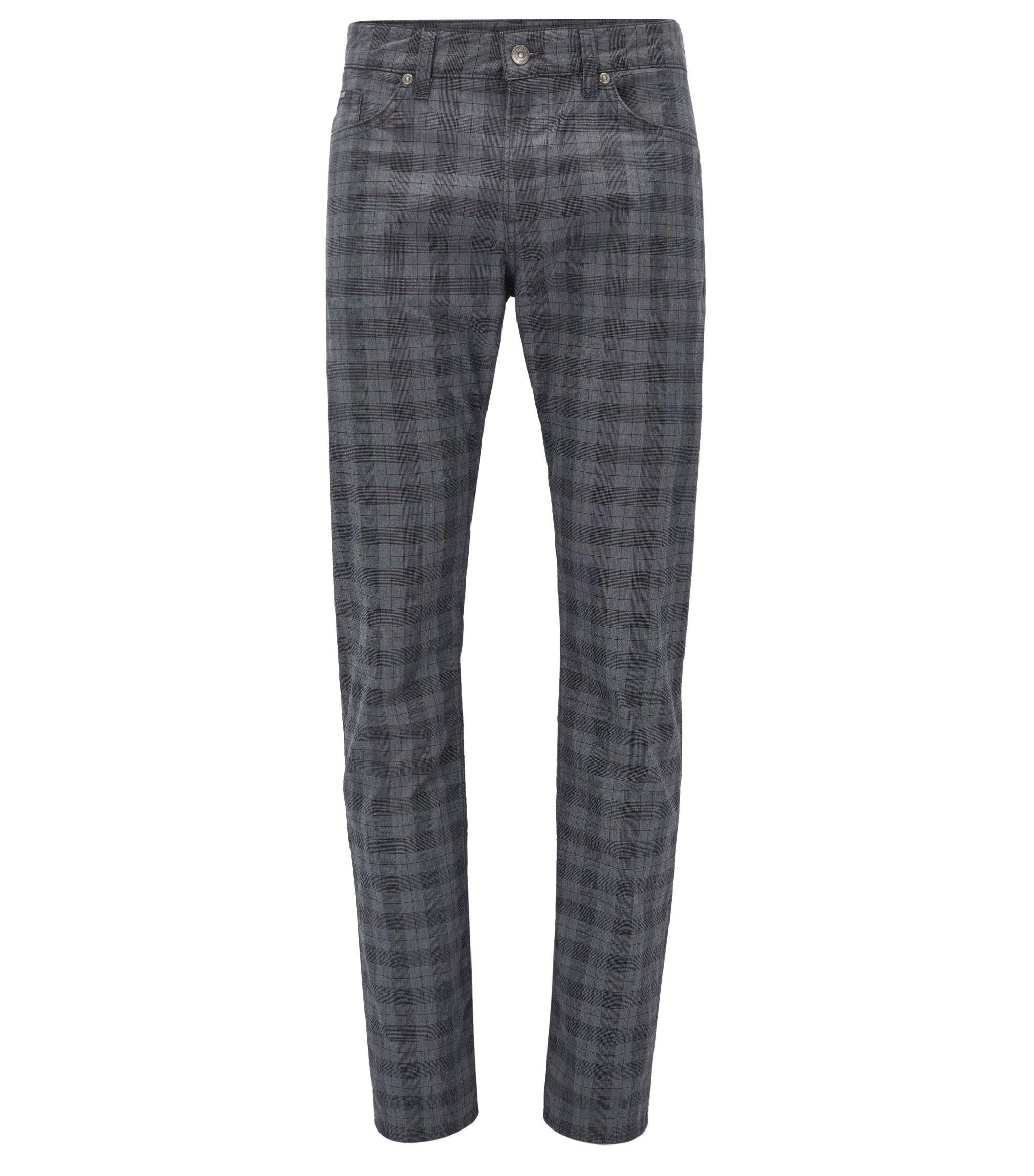 Plaid Stretch Cotton Pant, Slim Fit | Delaware, Open Grey