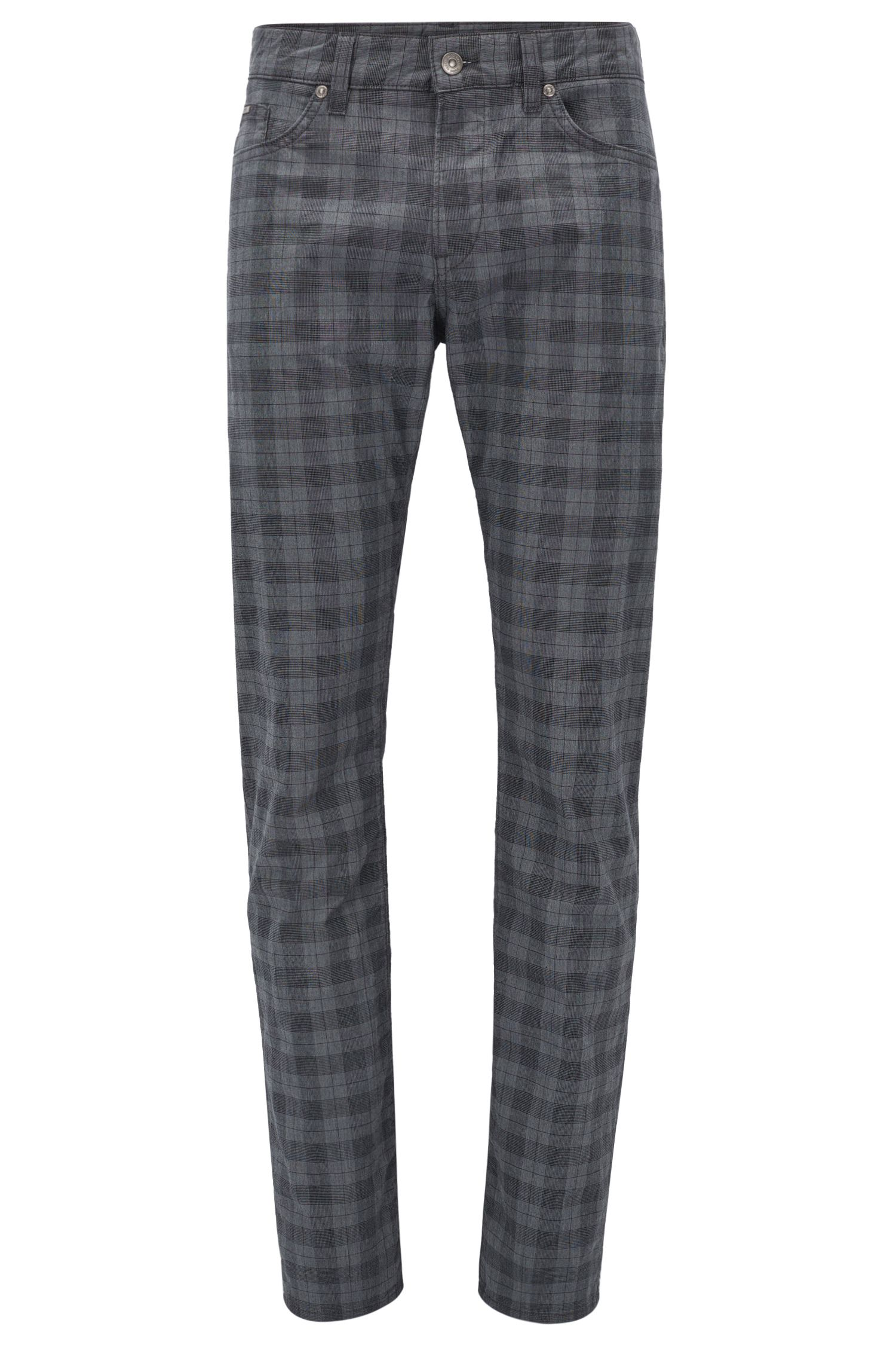 Plaid Stretch Cotton Pant, Slim Fit | Delaware, Open Grey