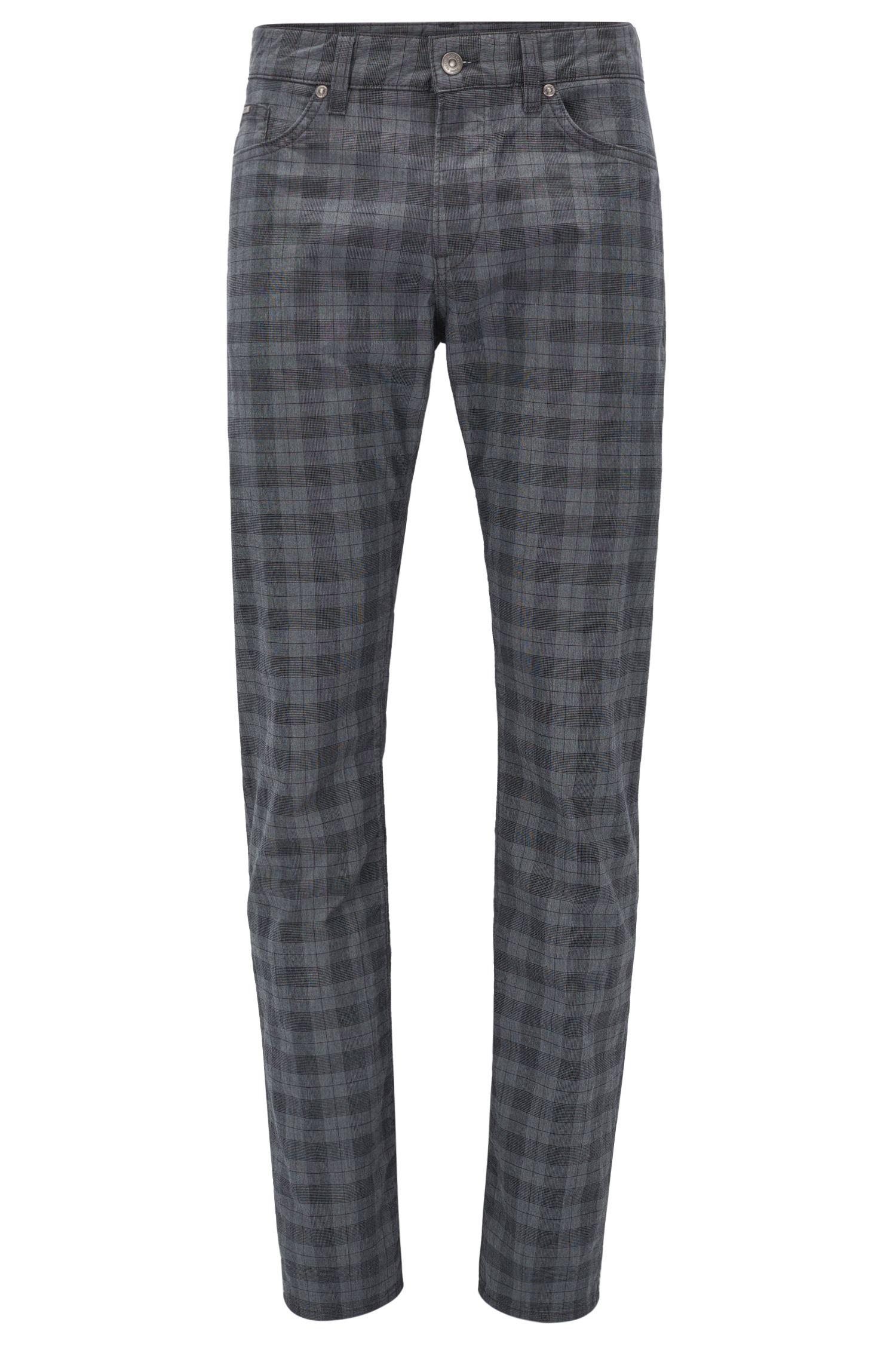 Plaid Stretch Cotton Pant, Slim Fit | Delaware
