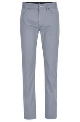 Patterned Stretch Cotton Pant, Slim Fit | Delaware, Dark Blue