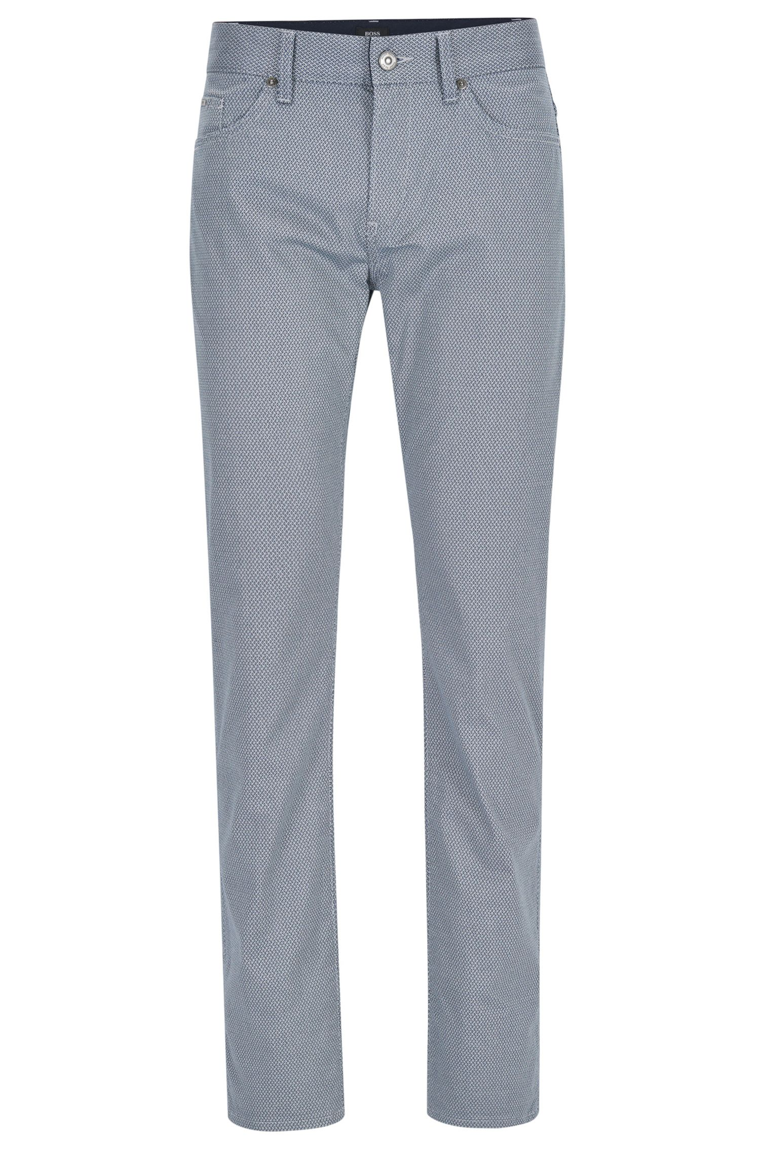 Patterned Stretch Cotton Pant, Slim Fit | Delaware