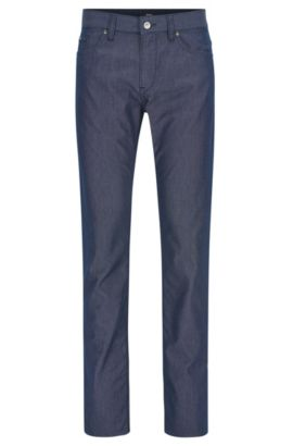 Basketweave Stretch Cotton Pant, Slim Fit | Delaware, Dark Blue