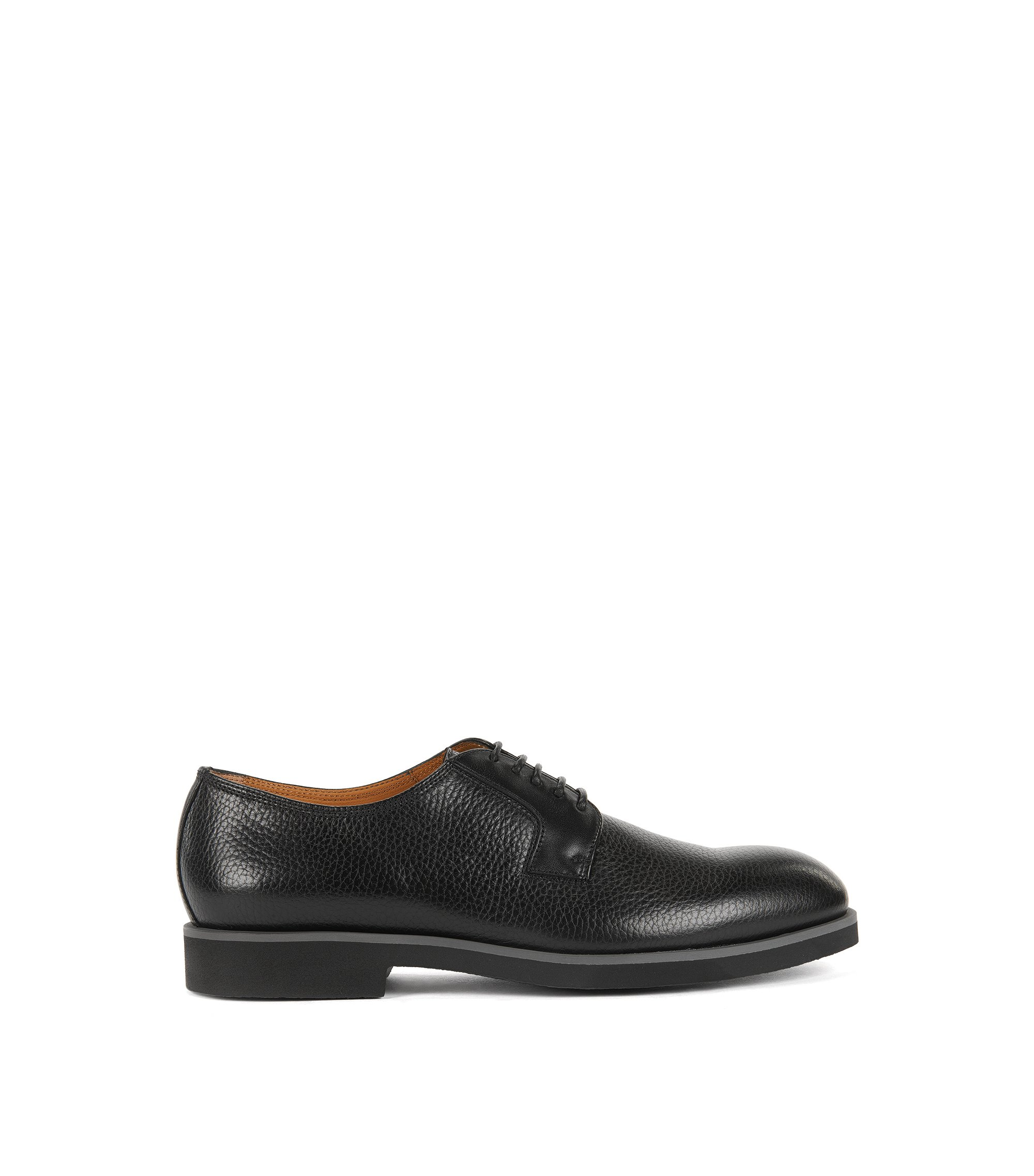 Grained Leather Derby Shoe | Eden, Black