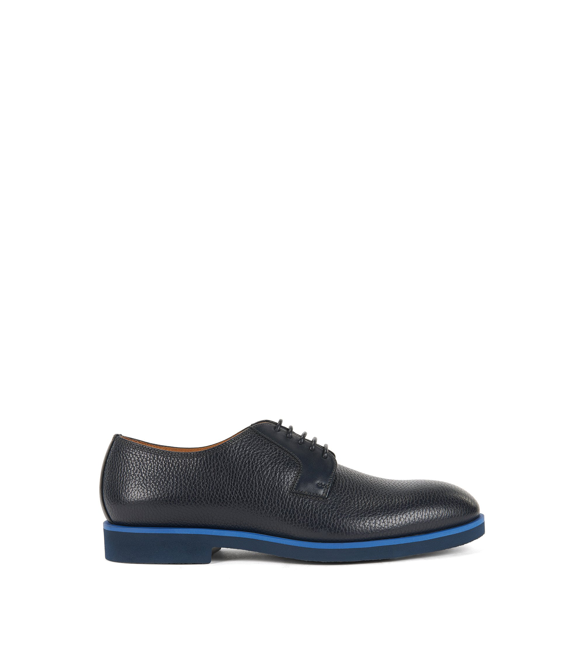 Grained Leather Derby Shoe | Eden, Dark Blue