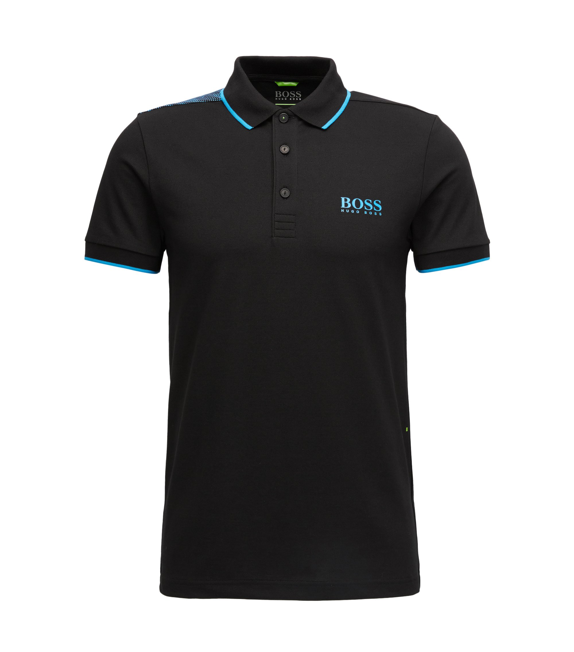 Tipped Cotton Blend  Polo Shirt, Slim Fit | Paul Pro, Black