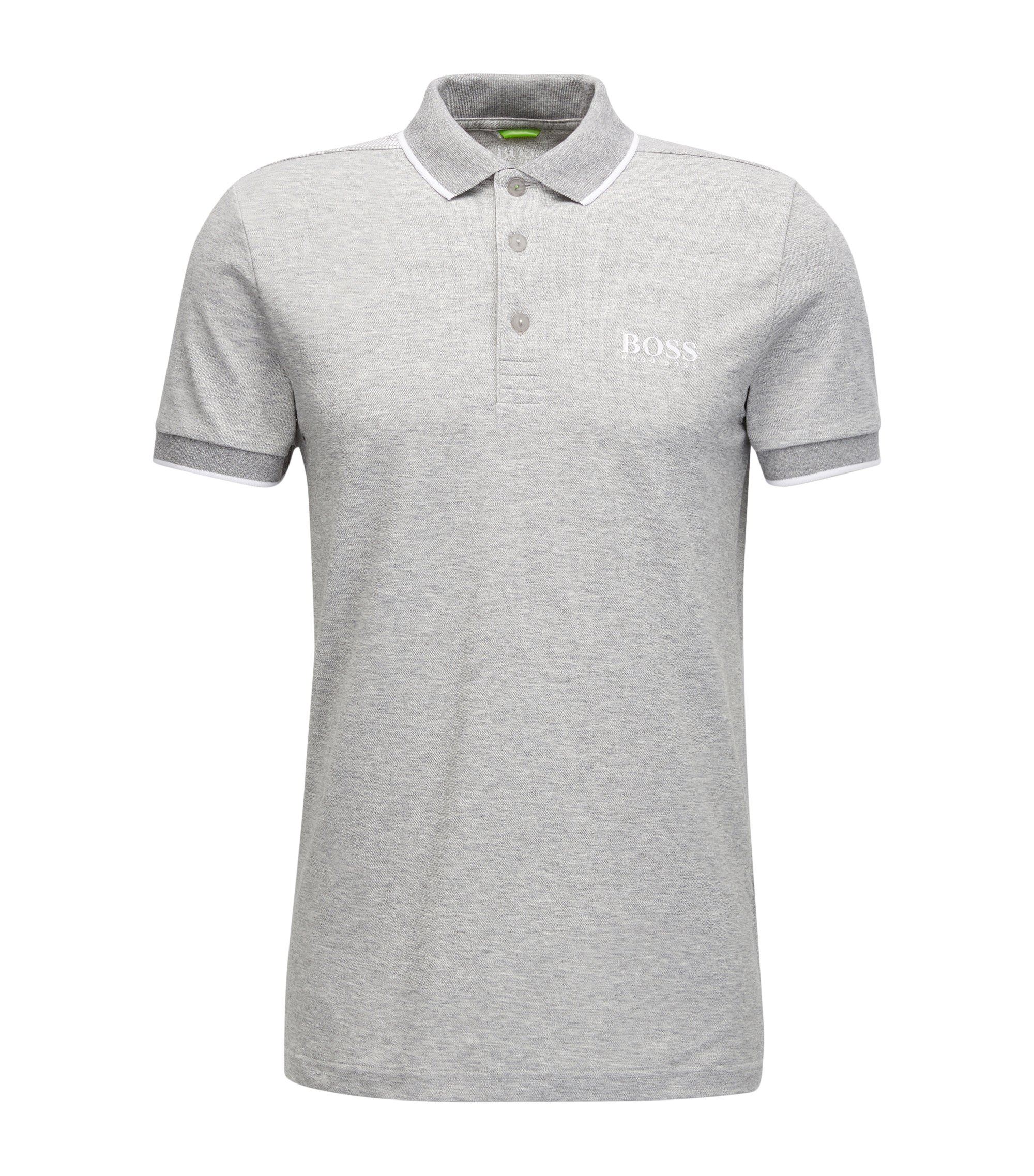 Tipped Cotton Blend  Polo Shirt, Slim Fit | Paul Pro, Light Grey