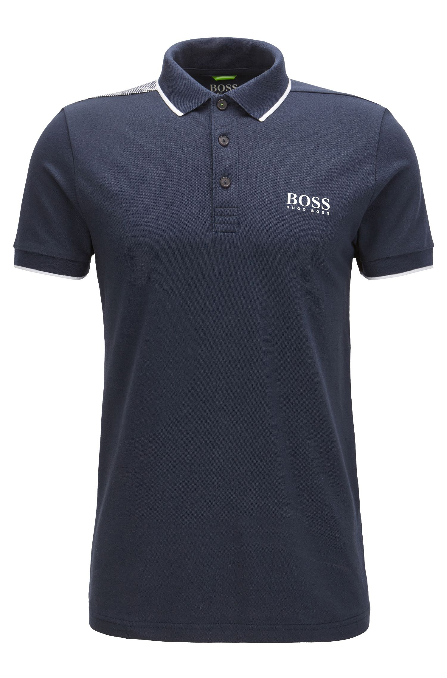 Tipped Cotton Blend  Polo Shirt, Slim Fit | Paul Pro, Dark Blue