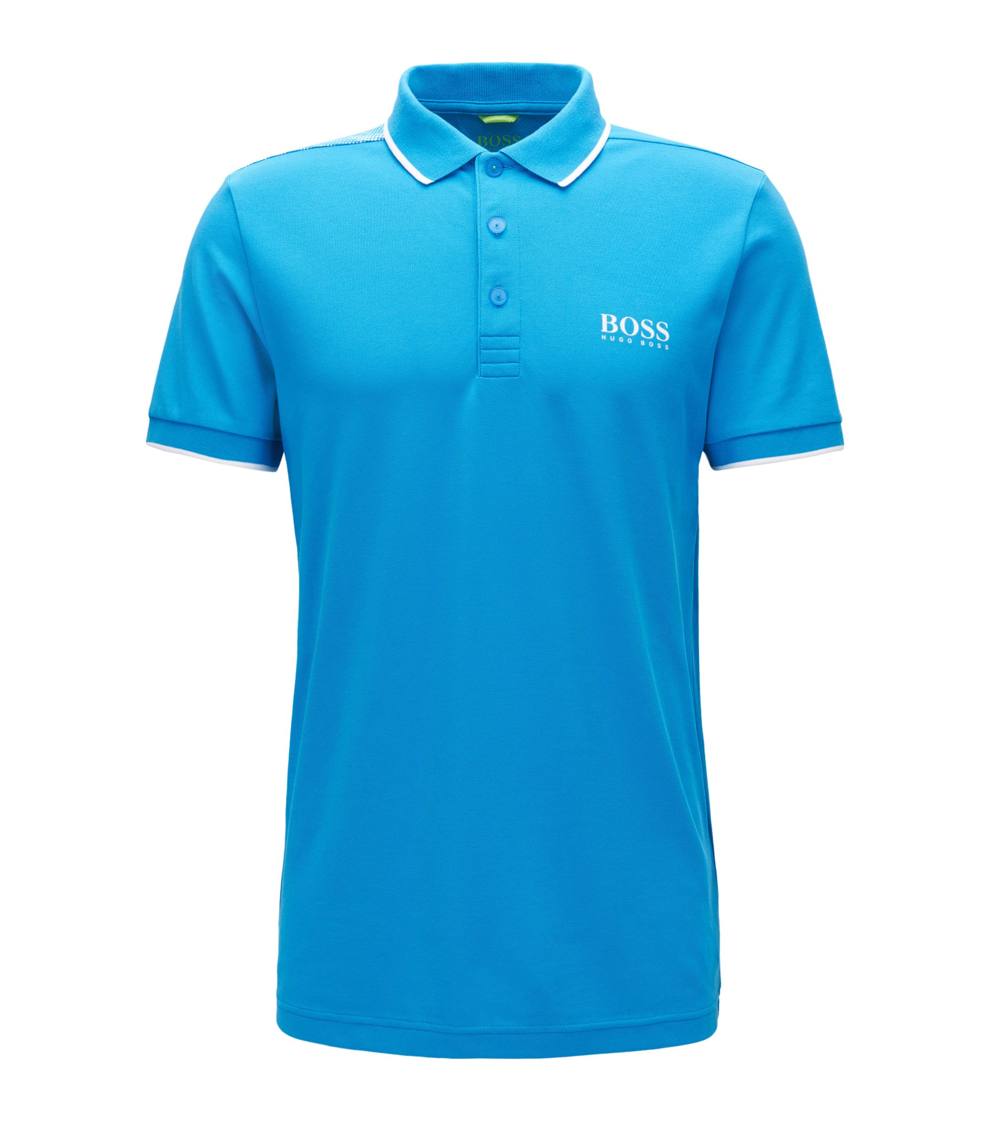Tipped Cotton Blend  Polo Shirt, Slim Fit | Paul Pro, Open Blue