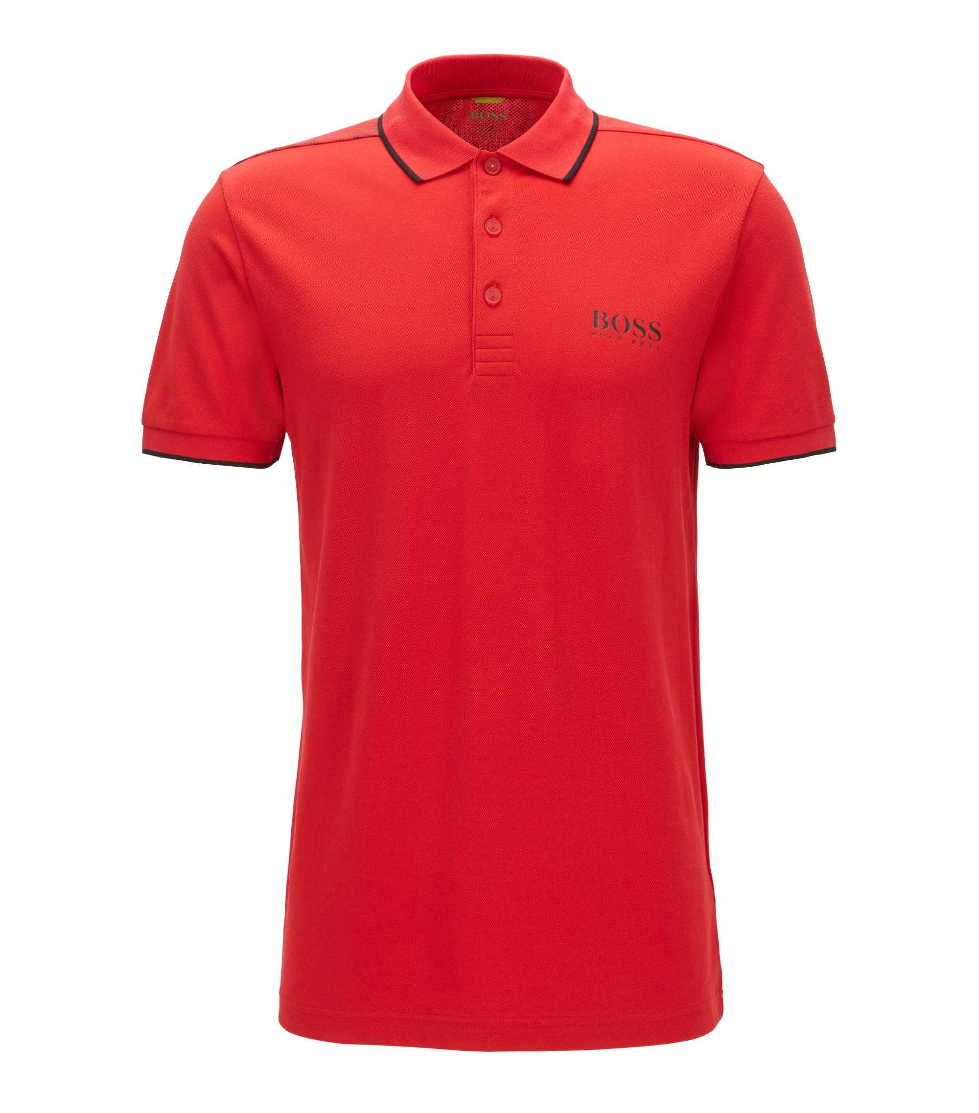 Tipped Cotton Blend  Polo Shirt, Slim Fit | Paul Pro, Red