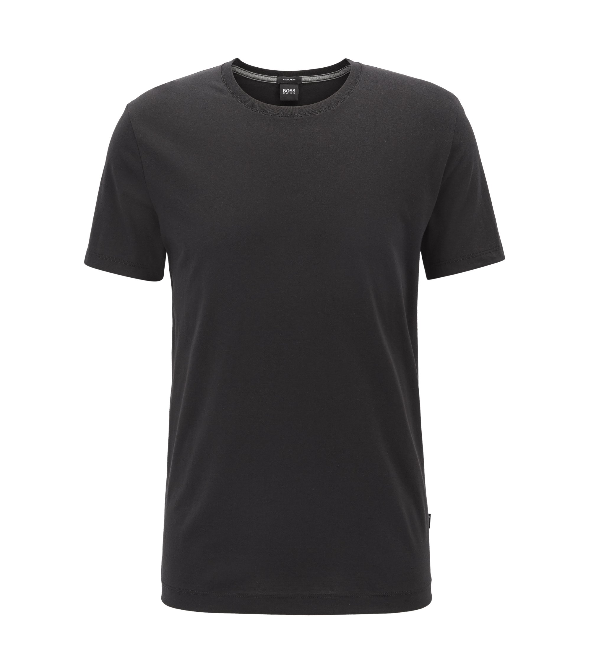 Regular-fit T-shirt in soft cotton, Black