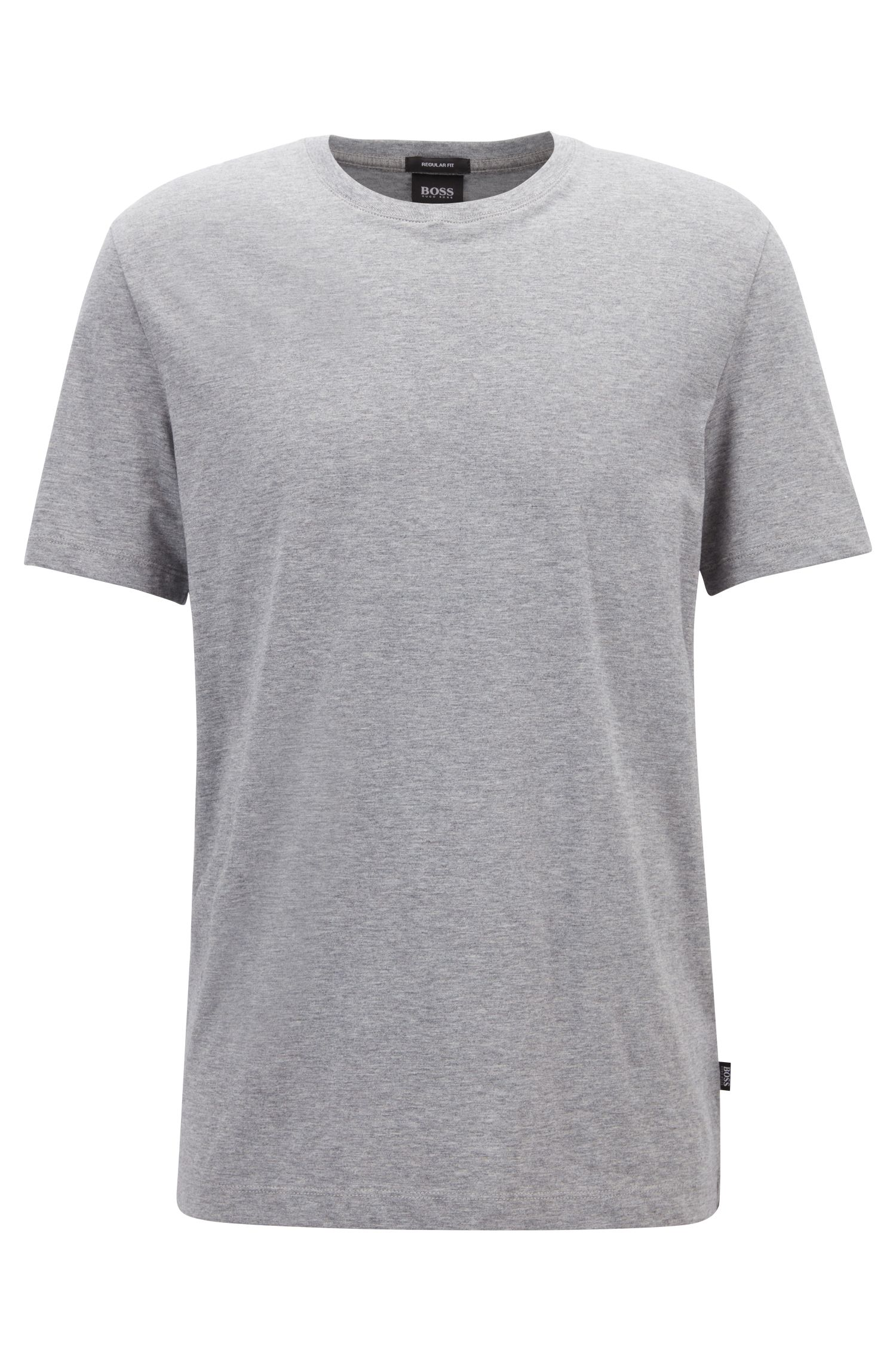 Regular-fit T-shirt in soft cotton, Silver