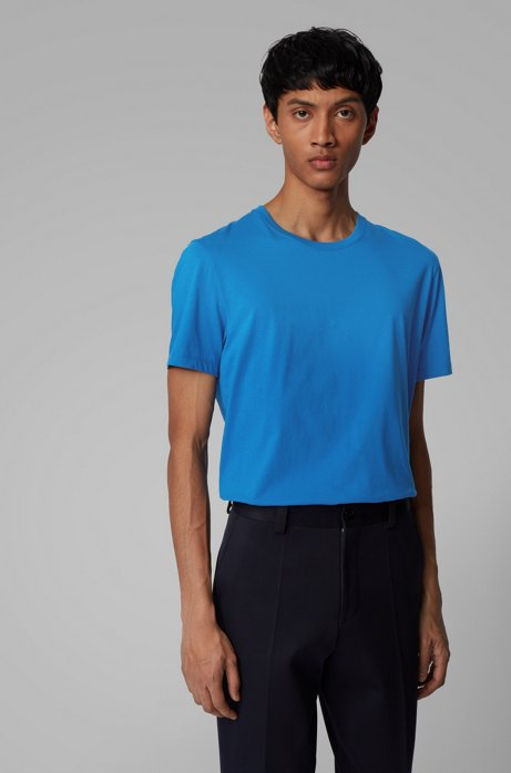 Regular-fit T-shirt in soft cotton, Blue
