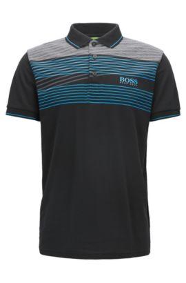 Cotton Blend Polo Shirt, Slim Fit  | Paddy Pro, Black