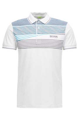 Cotton Blend Polo Shirt, Slim Fit  | Paddy Pro, White
