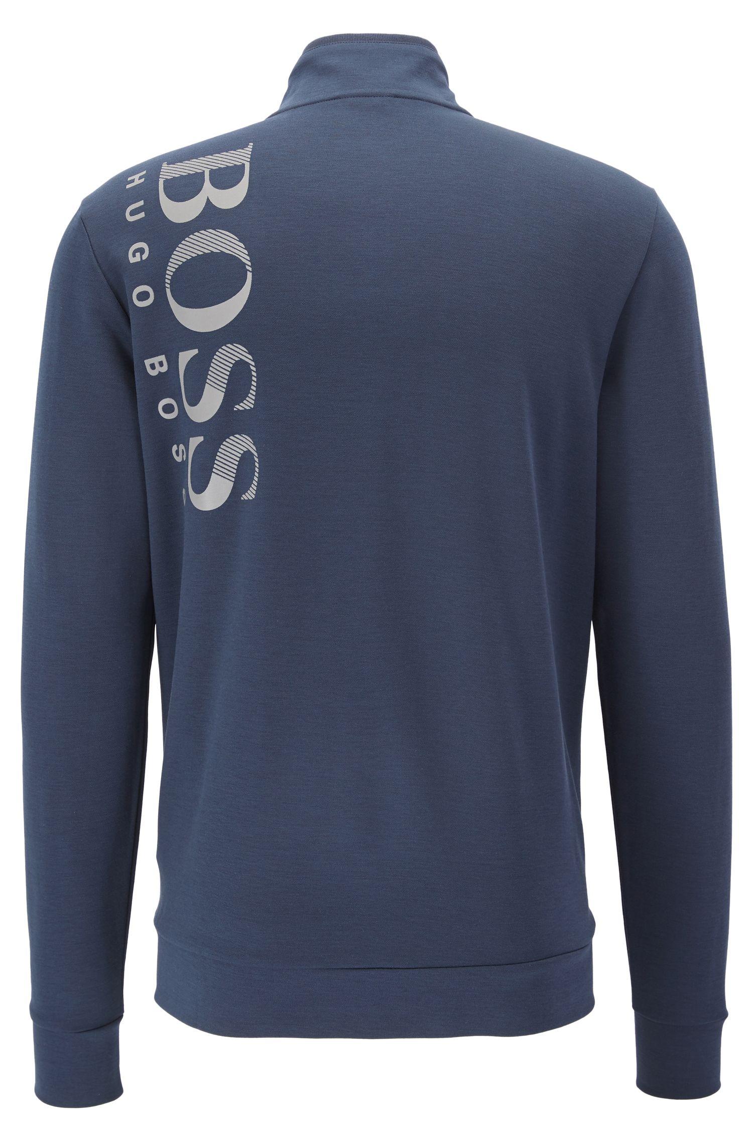 Cotton Blend Sweat Jacket   SL Tech , Dark Blue