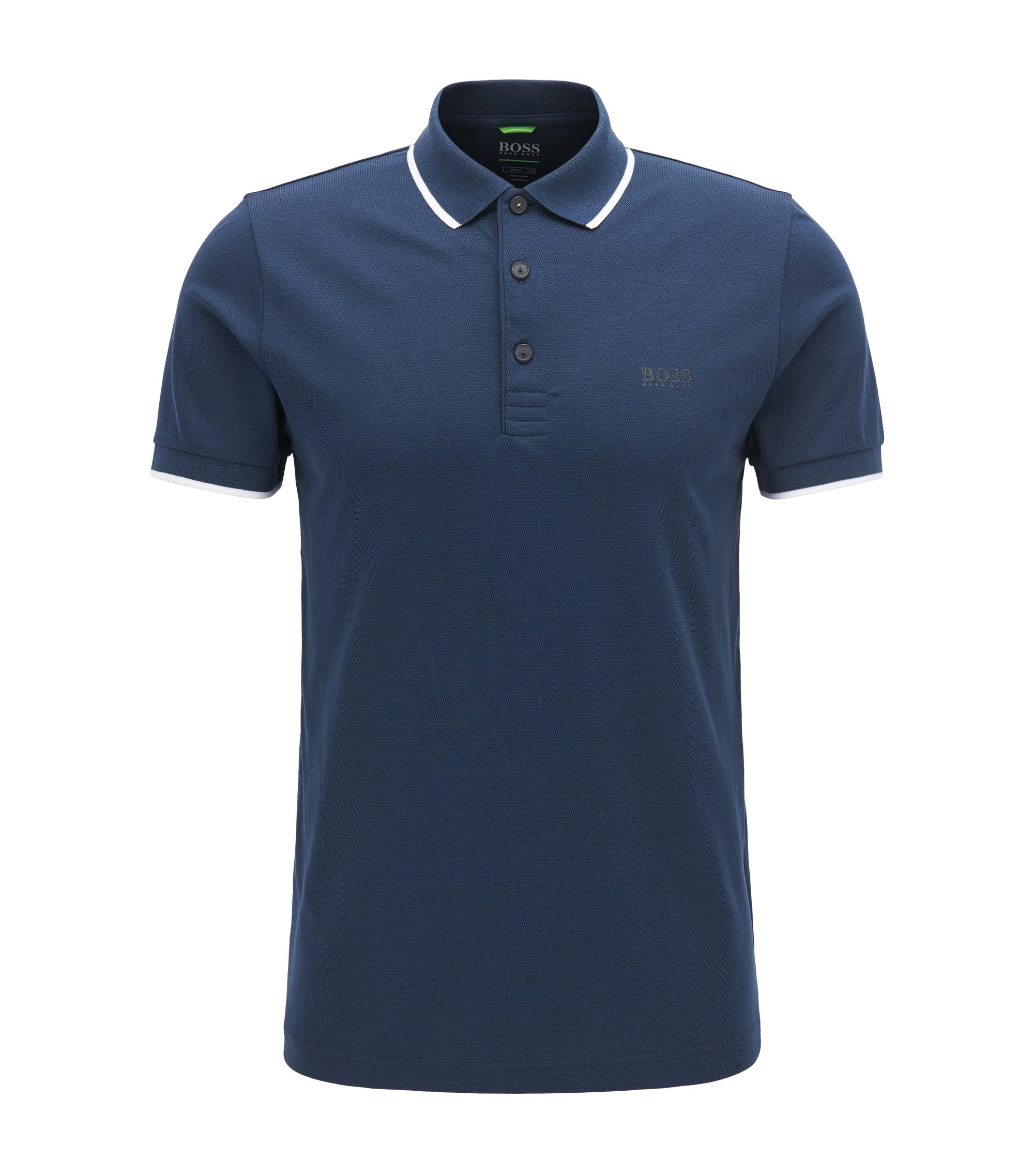 Tipped Cotton Blend Polo Shirt, Slim Fit | PL Tech, Dark Blue