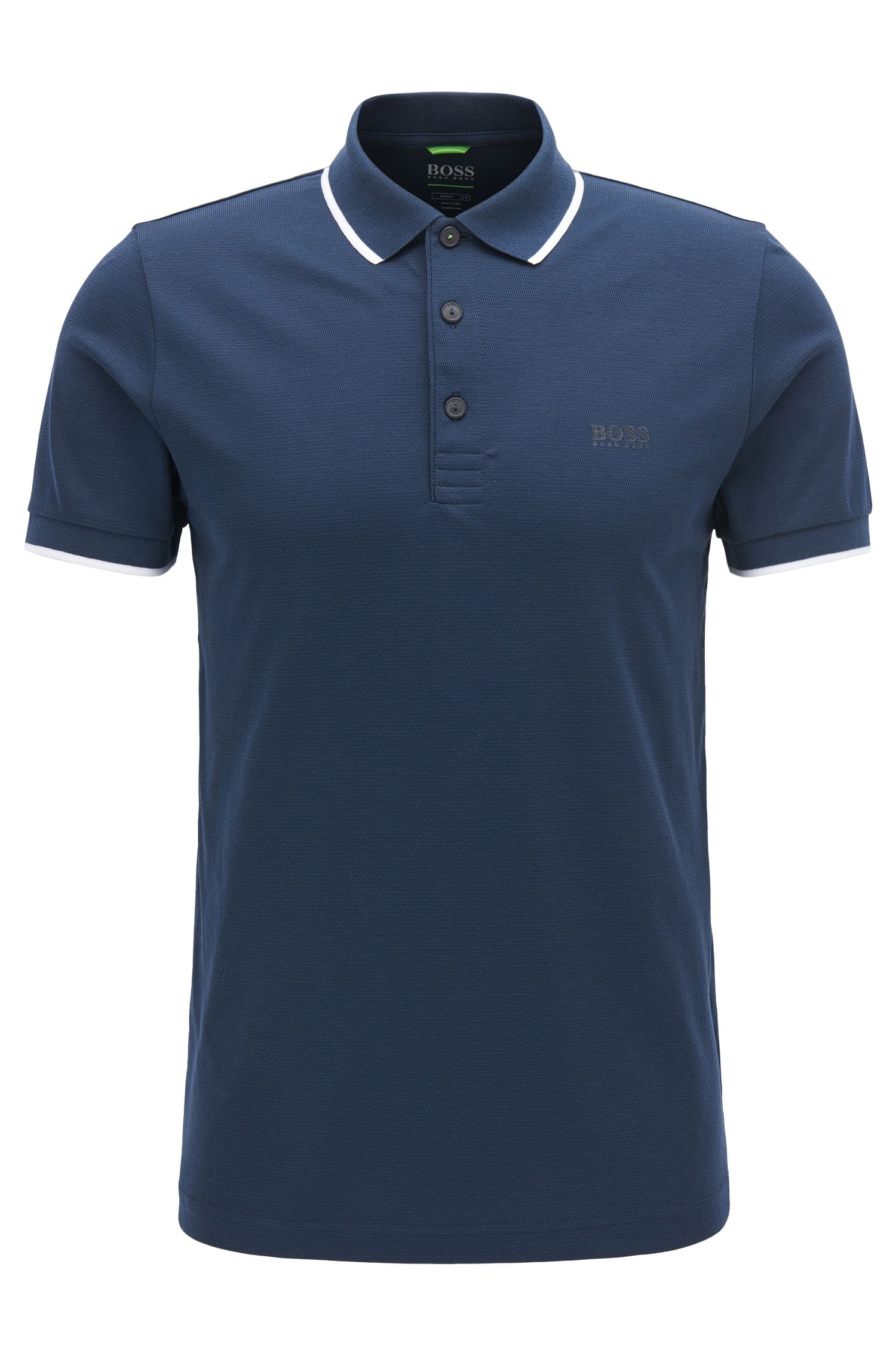 Tipped Cotton Blend Polo Shirt, Slim Fit | PL Tech