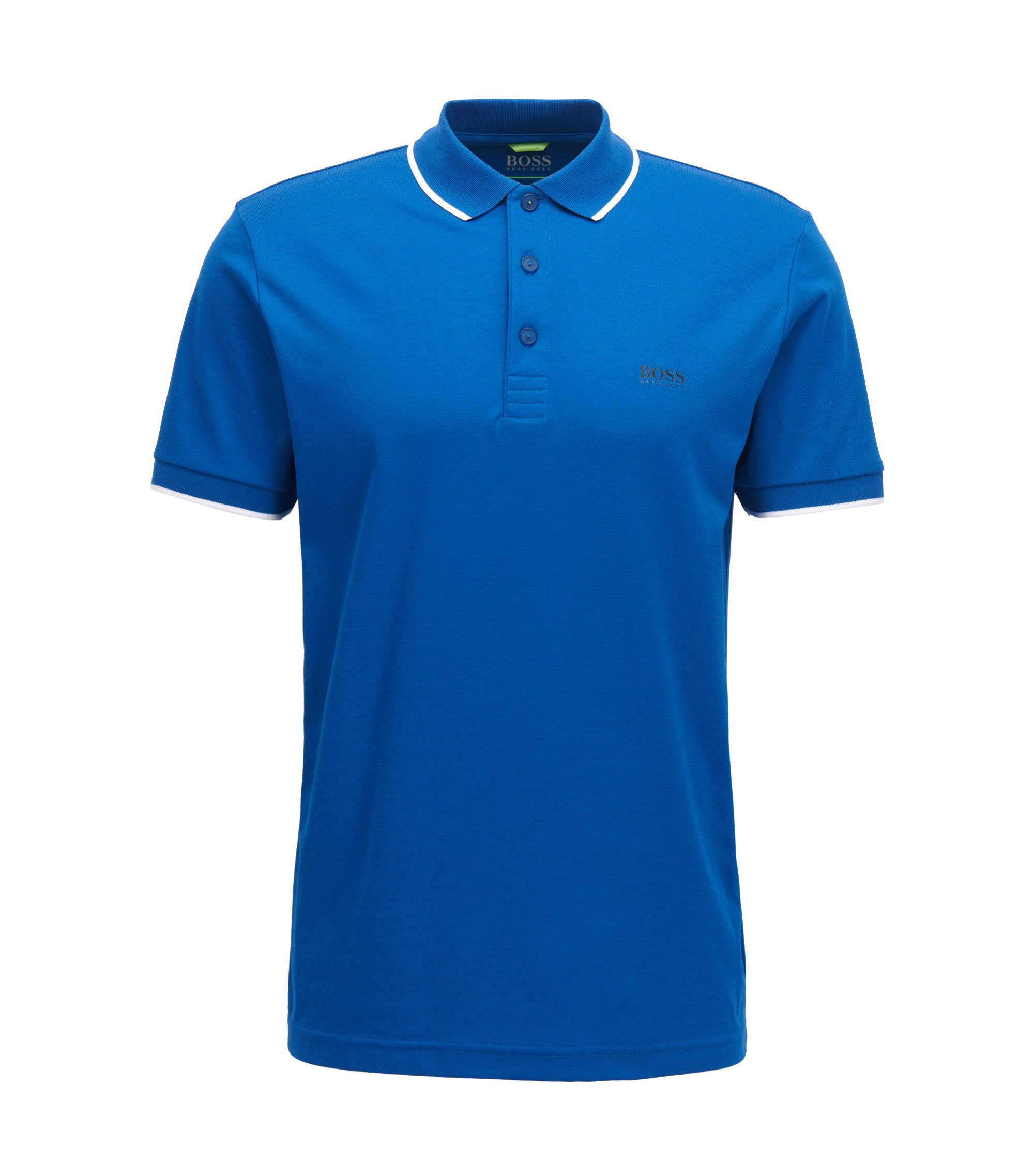 Tipped Cotton Blend Polo Shirt, Slim Fit | PL Tech, Blue