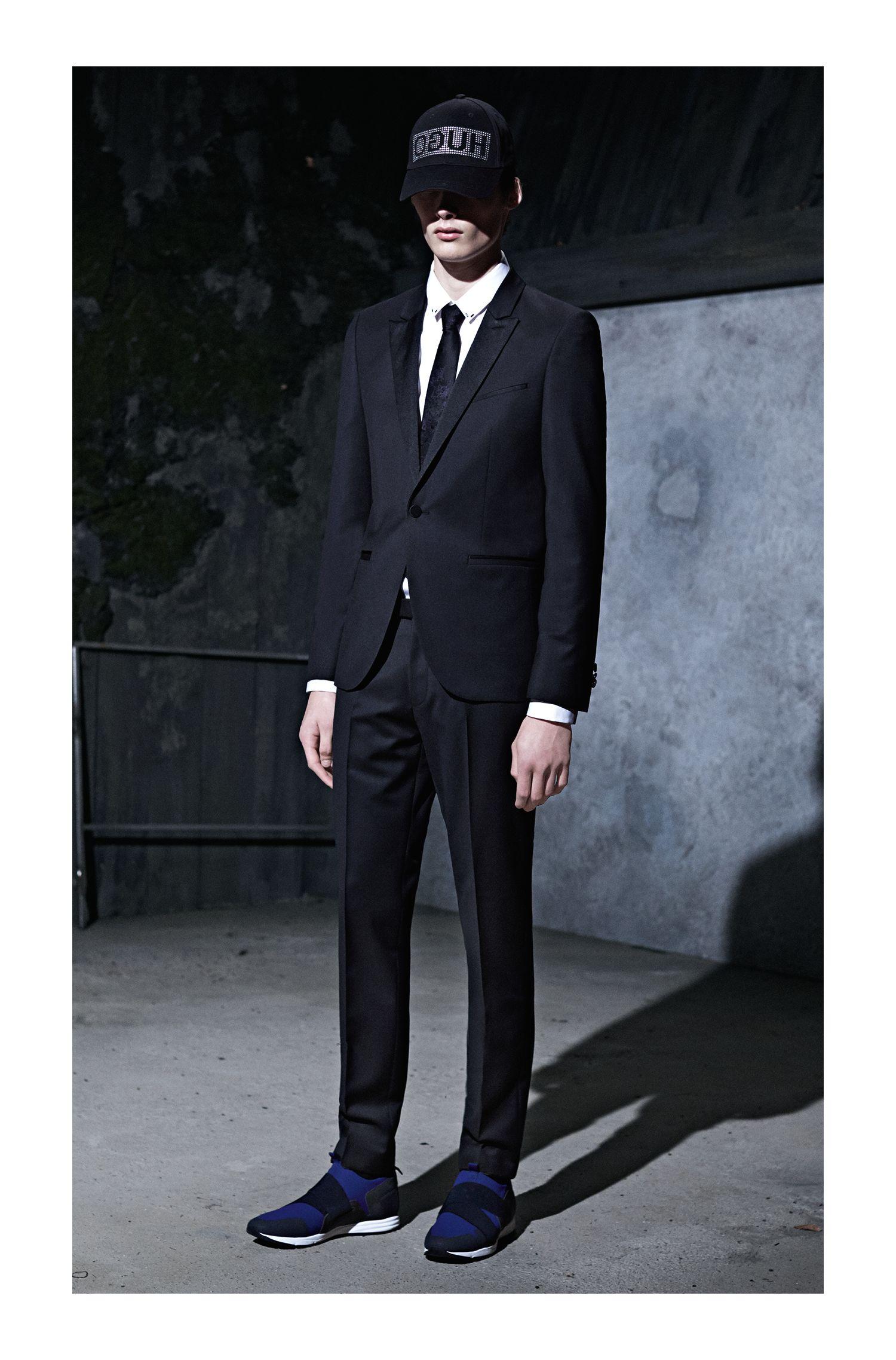 Rorschach Italian Silk Slim Tie, Dark Blue