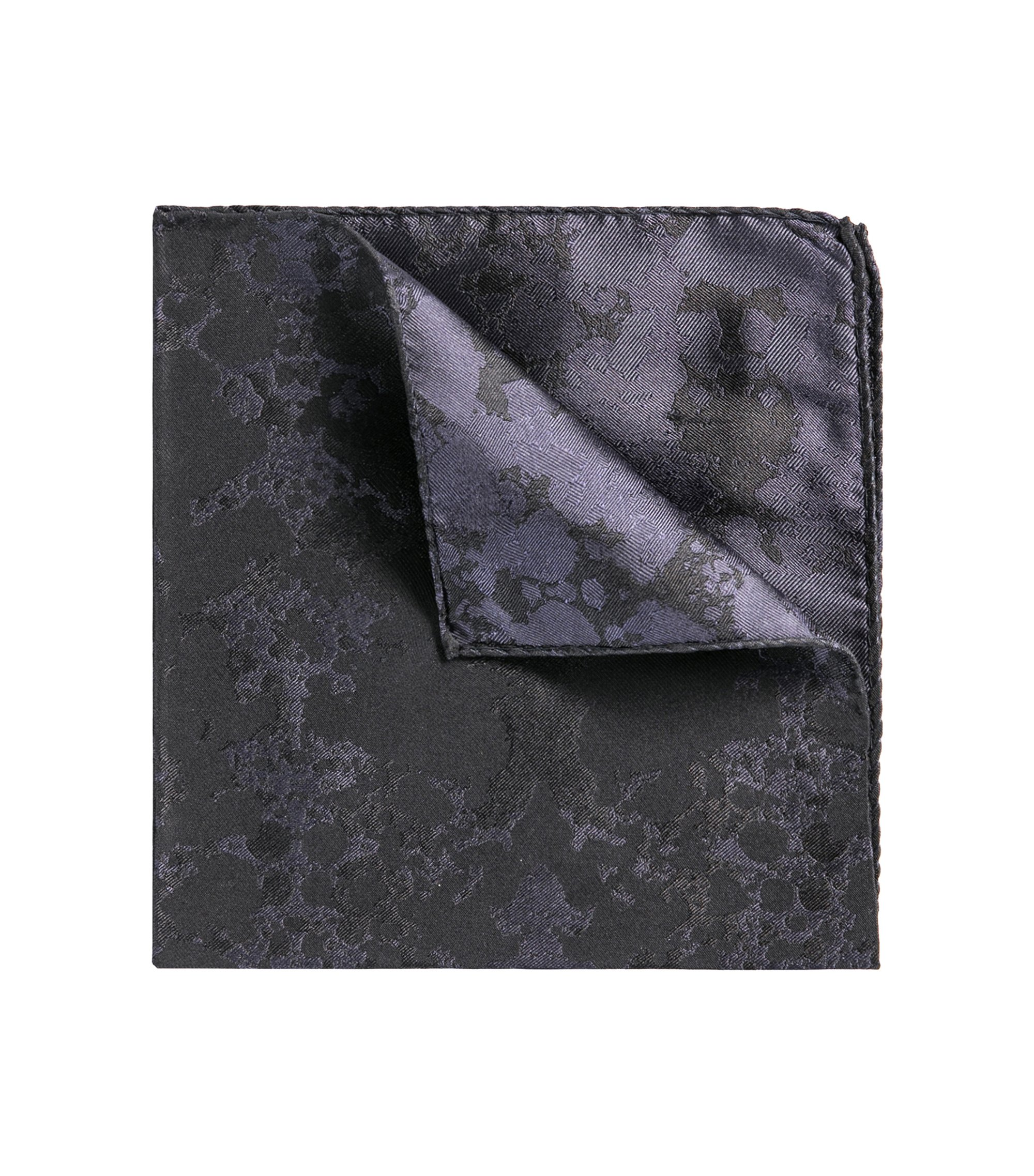 Rorschach Italian Silk Pocket Square, Dark Blue
