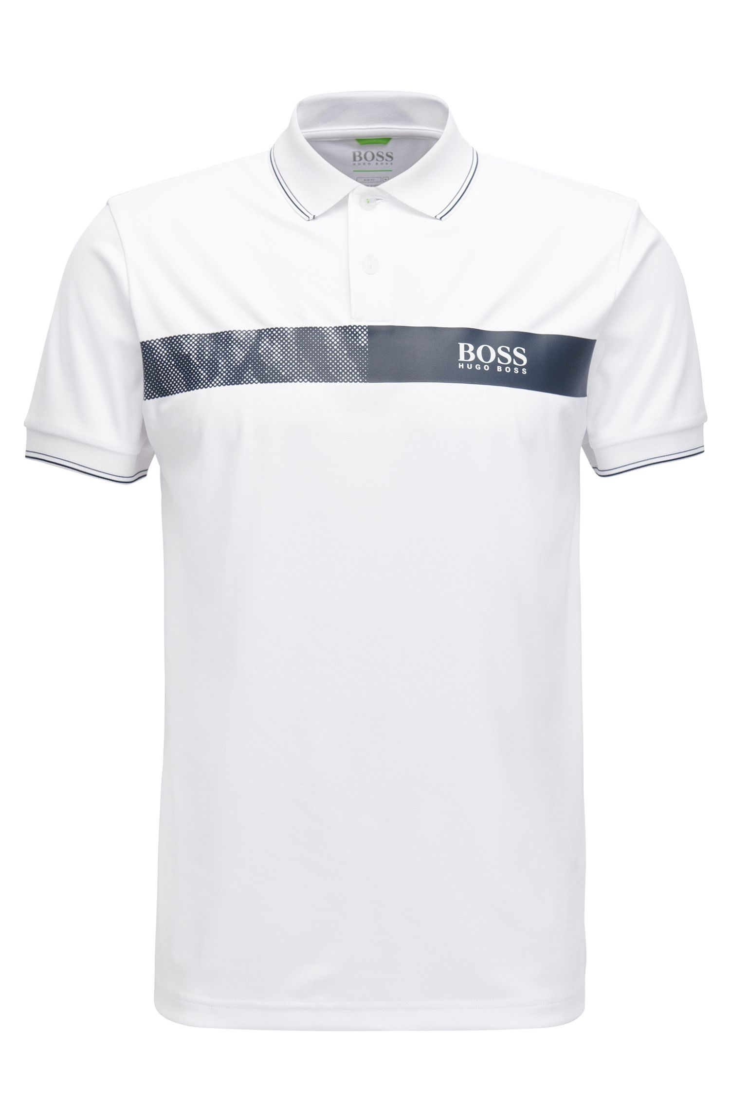 Striped Stretch Cotton Polo Shirt, Slim Fit | Paule Pro, White
