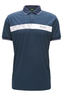 Striped Stretch Cotton Polo Shirt, Slim Fit | Paule Pro, Dark Blue
