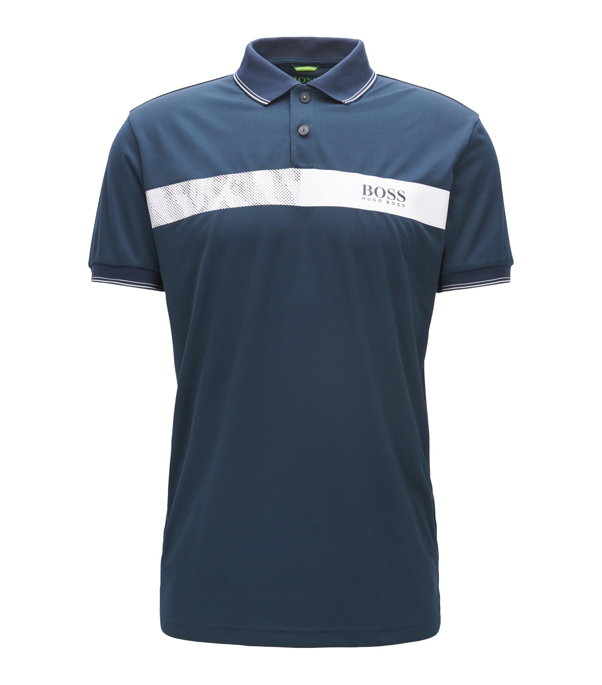 Striped Stretch Cotton Polo Shirt, Slim Fit   Paule Pro, Dark Blue