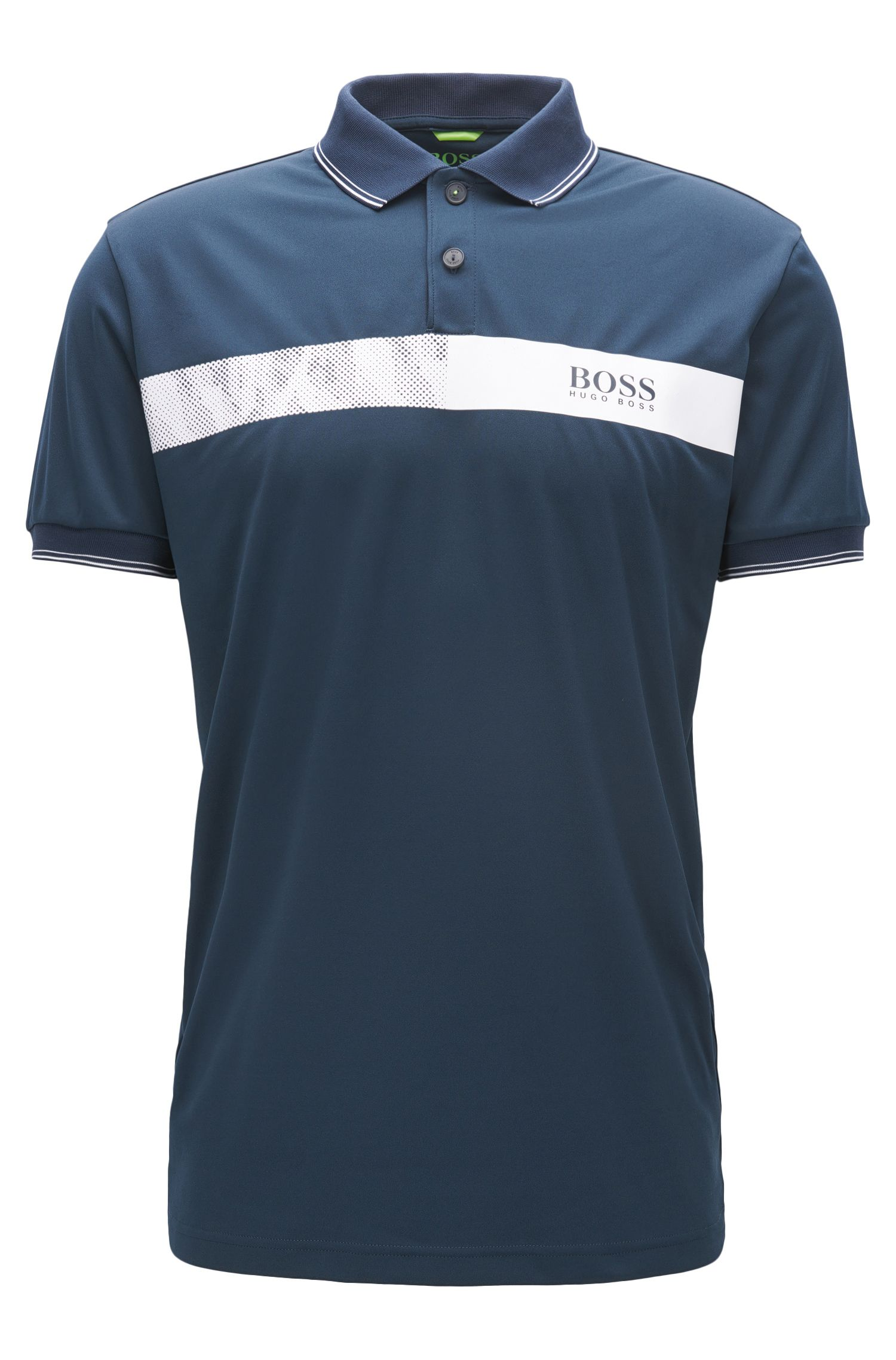 Striped Stretch Cotton Polo Shirt, Slim Fit | Paule Pro, Dark Blue