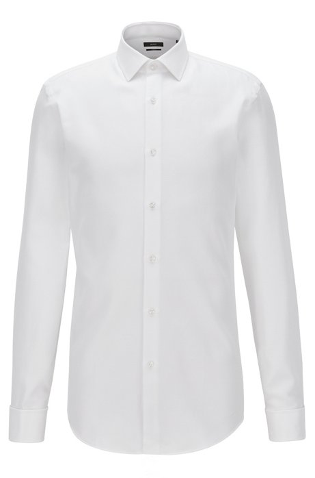 Dobby Cotton Shirt, Slim Fit | Jacques , White