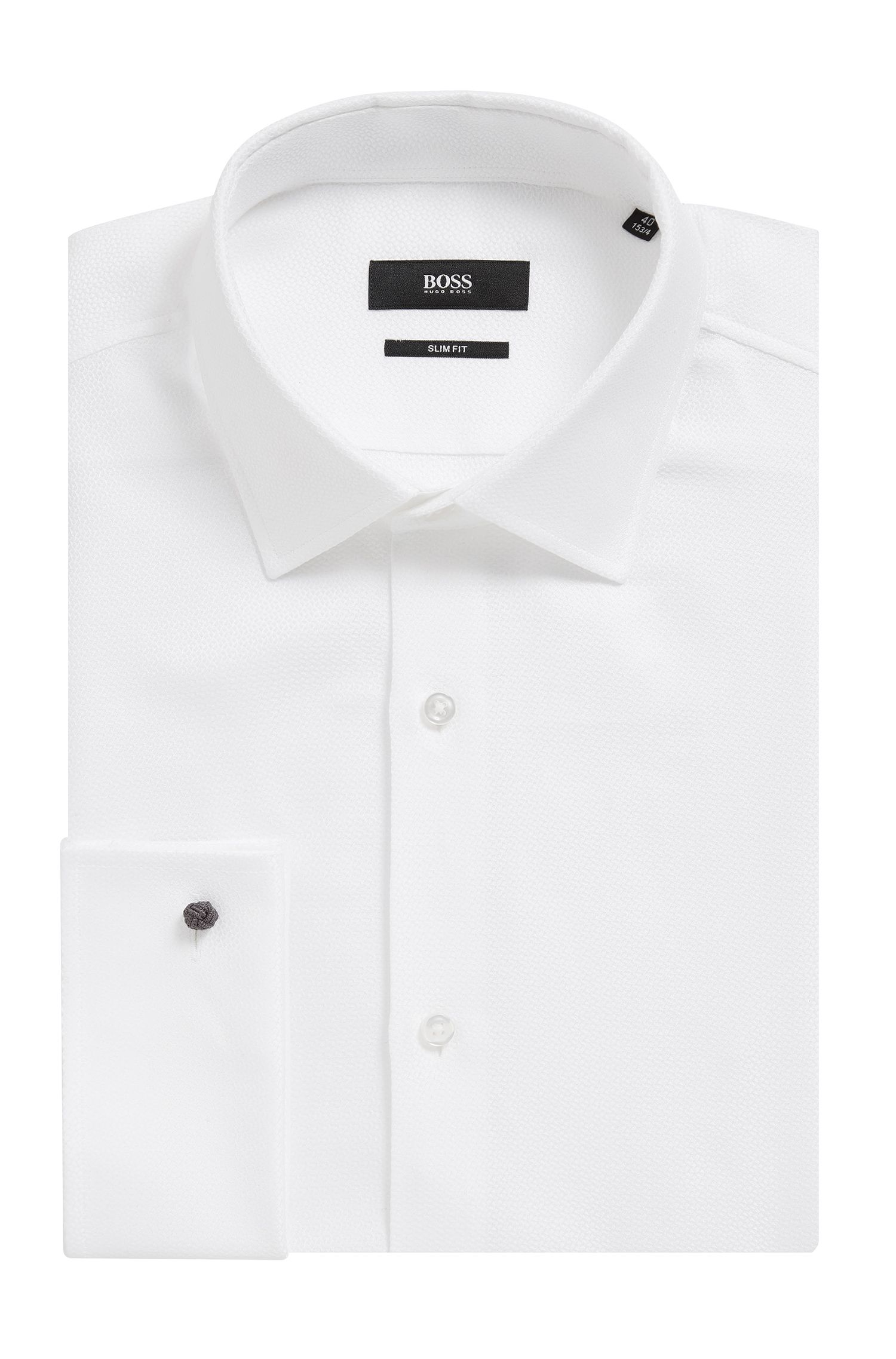 Dobby Cotton Shirt, Slim Fit | Jacques , White