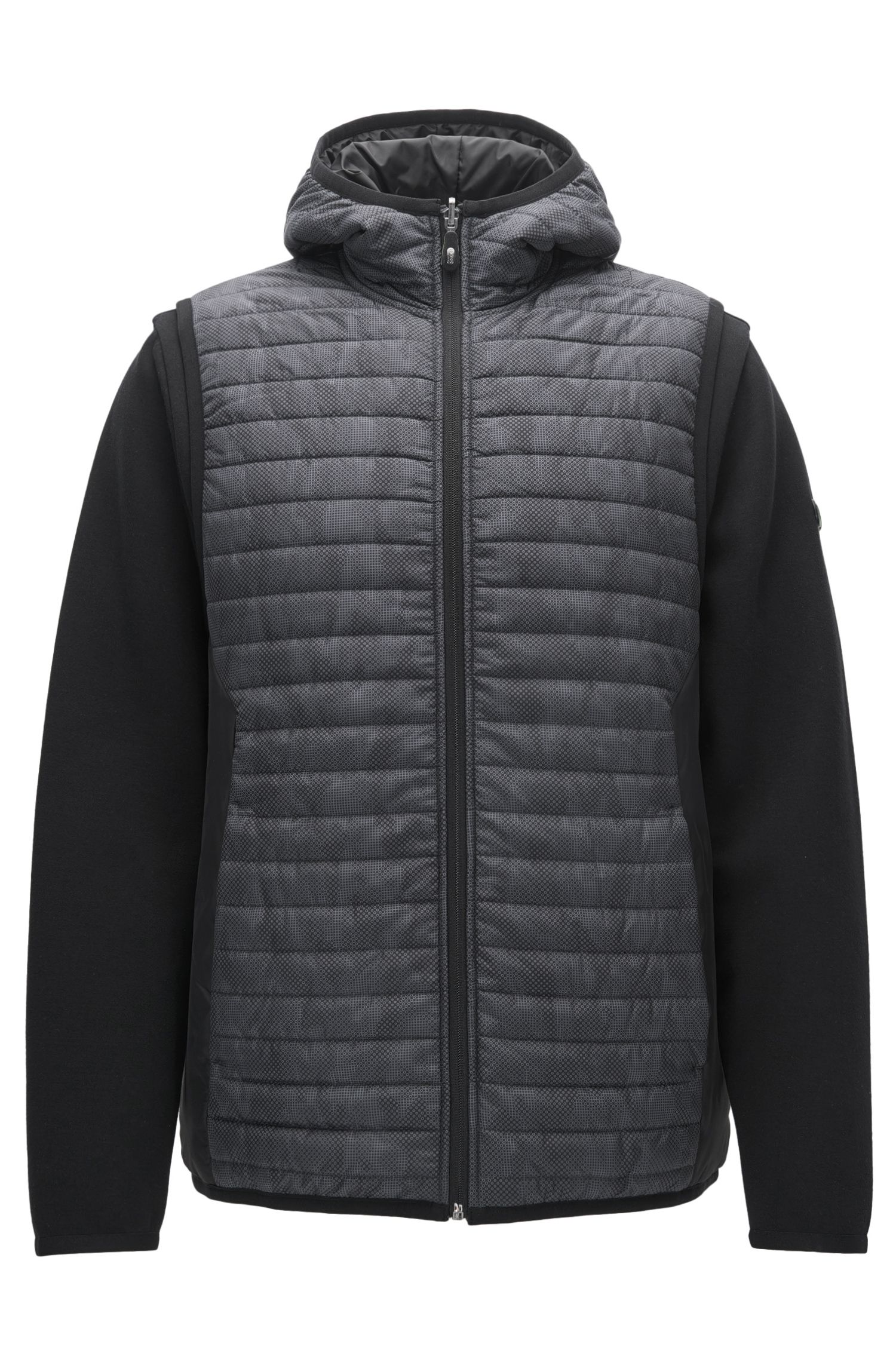 Reversible Cotton Blend Quilted Hoodie | Sawotwo, Black