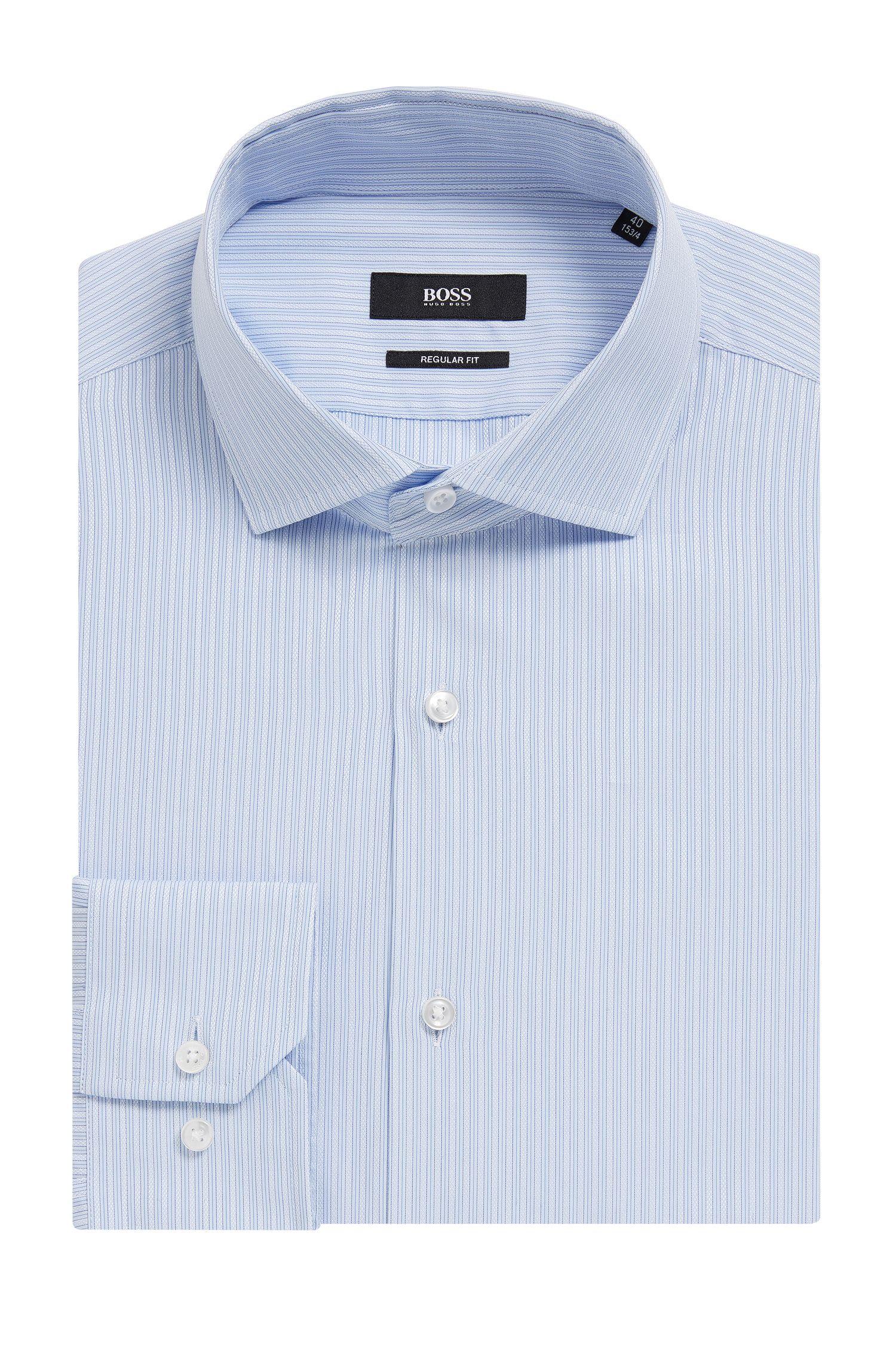Striped Cotton Dress Shirt, Regular Fit | Gordon, Light Blue