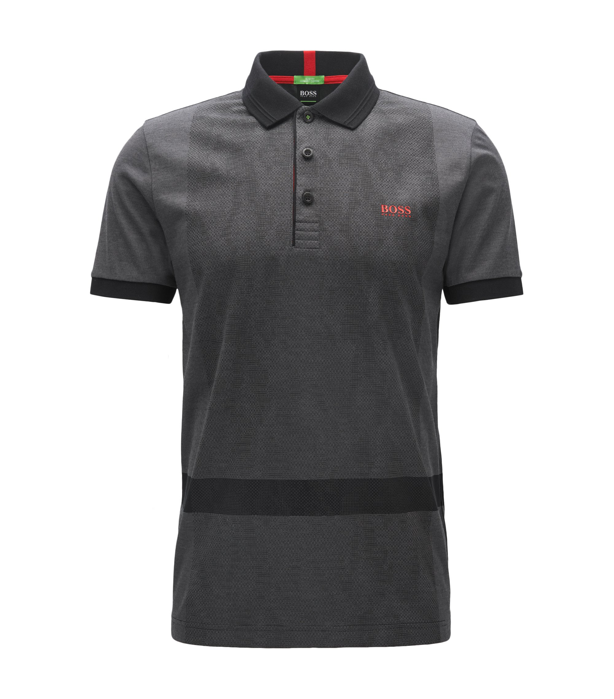 Interlock Cotton Polo Shirt, Slim Fit | Paule, Black