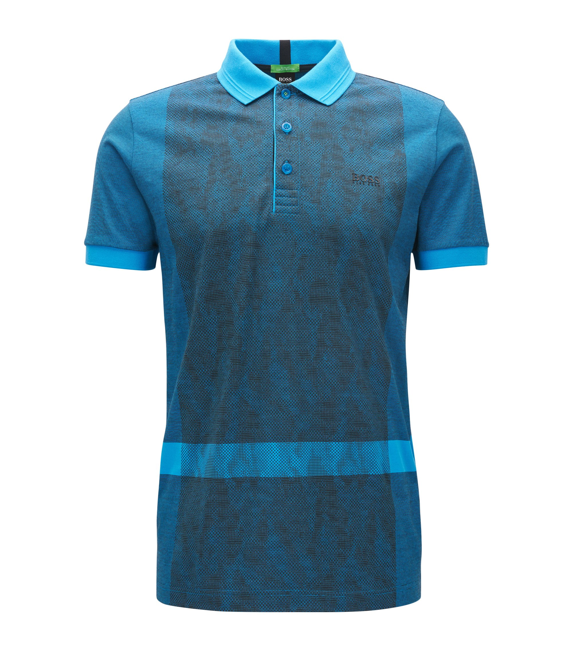 Interlock Cotton Polo Shirt, Slim Fit | Paule, Open Blue